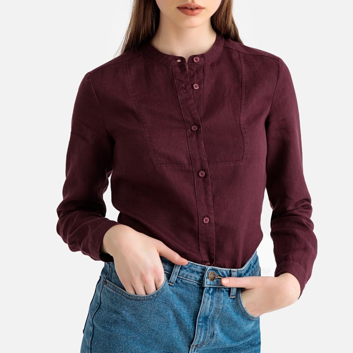 Блузка La Redoute С воротником-стойкой и длинными рукавами из льна 34 (FR) - 40 (RUS) красный цены
