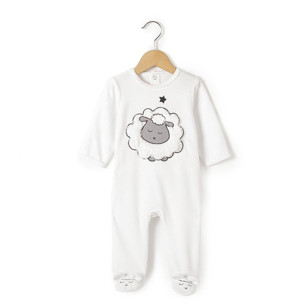 Пижама велюровая, 0 месяцев-3 годаМягкая и теплая пижама из велюра, 75% хлопка, 25% полиэстера, со вшитыми носочками. Вышитый рисунок спереди.       Застжека на кнопки на спине. Внизу брючин овечки с ушками. Покрытие против скольжения на ступнях начиная от 74 см.    Знак марки отпечатан с внутренней стороны и не напечатан на пришитой этикетке сзади, чтобы не вызвать раздражение или зуд на коже ребенка  .<br><br>Цвет: белый<br>Размер: 1 год - 74 см.18 мес. - 81 см.2 года - 86 см