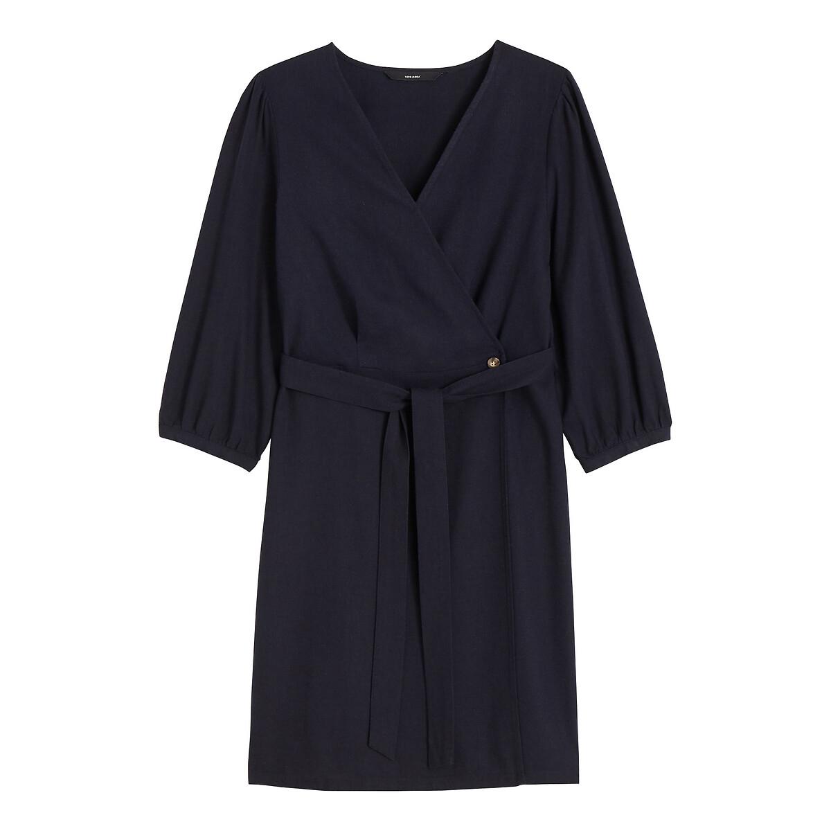 Платье La Redoute Короткое с запахом с рукавами XS синий