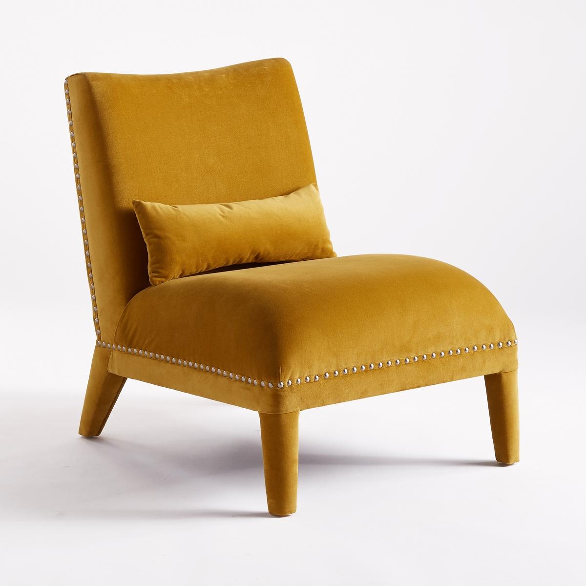 Кресло LaRedoute Из велюра с заклепками Eulali единый размер желтый