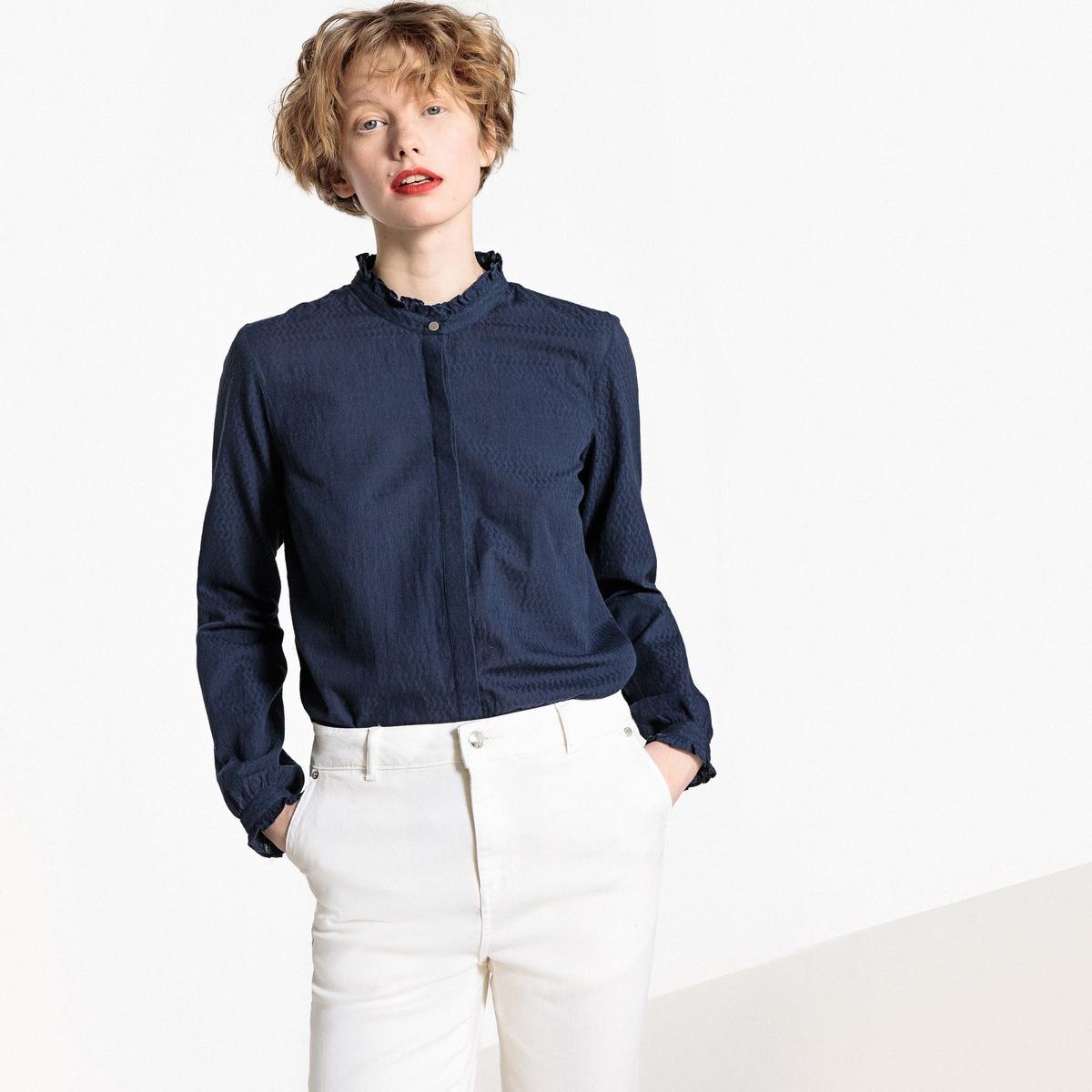 Рубашка с длинными рукавами, воротник-стойка