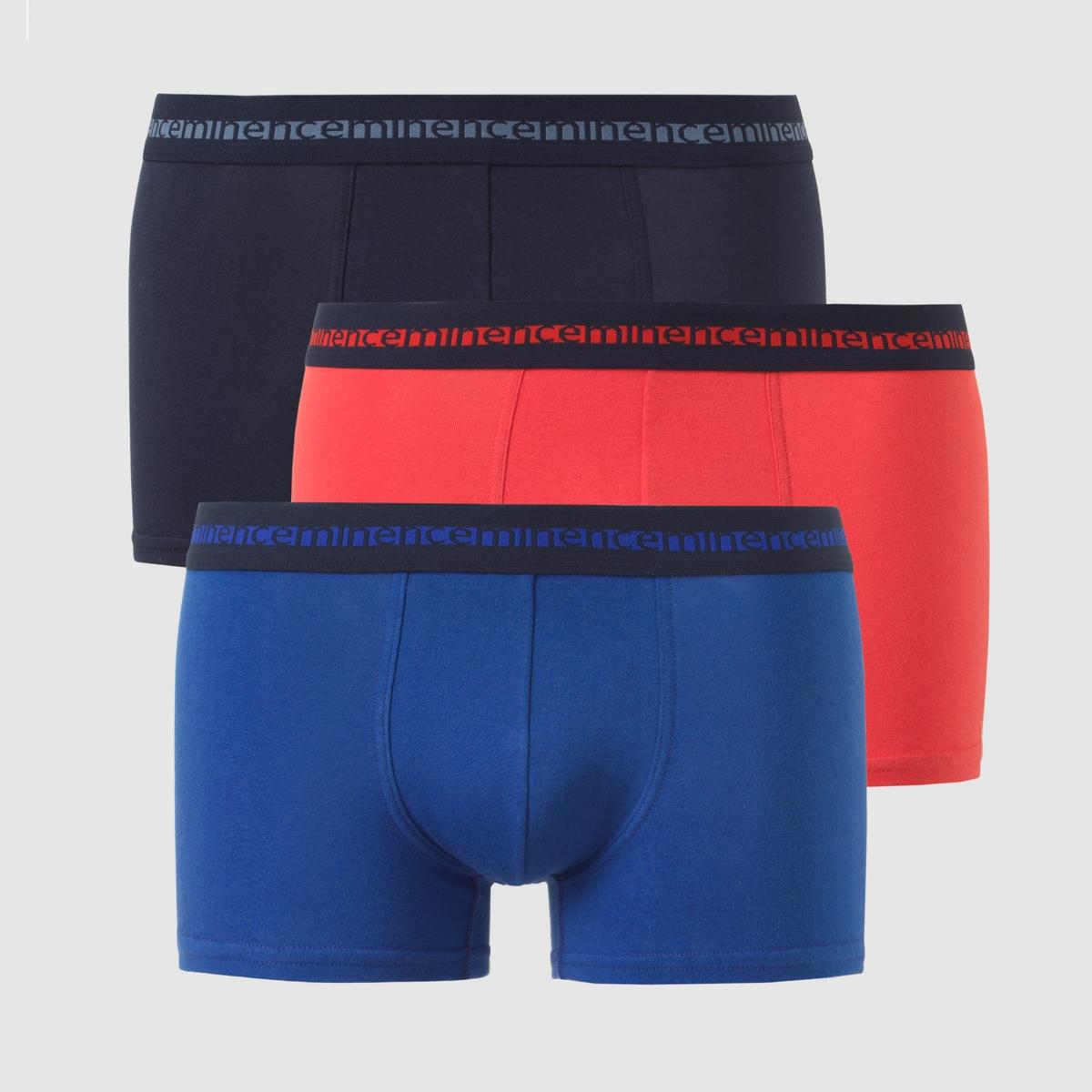 Комплект из 3 трусов-боксеров Morpho AdjustКомплект из 3 трусов-боксеров Morpho Adjust EMINENCE. Эластичный трикотаж, 90% хлопка, 10% эластана. Эластичный пояс. Передняя часть на подкладке.В комплекте 3 трусов.<br><br>Цвет: темно-синий + красный + синий