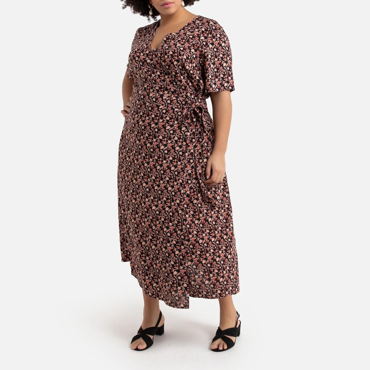 Платье La Redoute Длинное с запахом с цветочным рисунком 48 (FR) - 54 (RUS) разноцветный платье длинное с запахом с рисунком coming