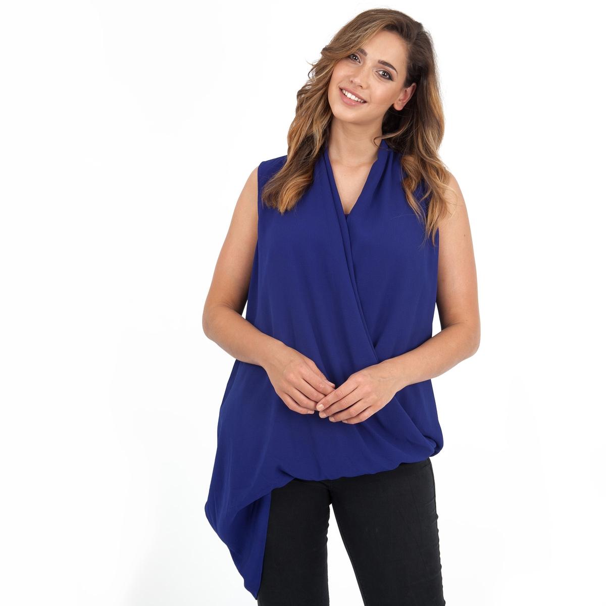 БлузкаБлузка без рукавов LOVEDROBE. Асимметричная блузка с симпатичным декольте. Легкий вырез сзади . 100% полиэстер.<br><br>Цвет: синий<br>Размер: 58/60 (FR) - 64/66 (RUS)