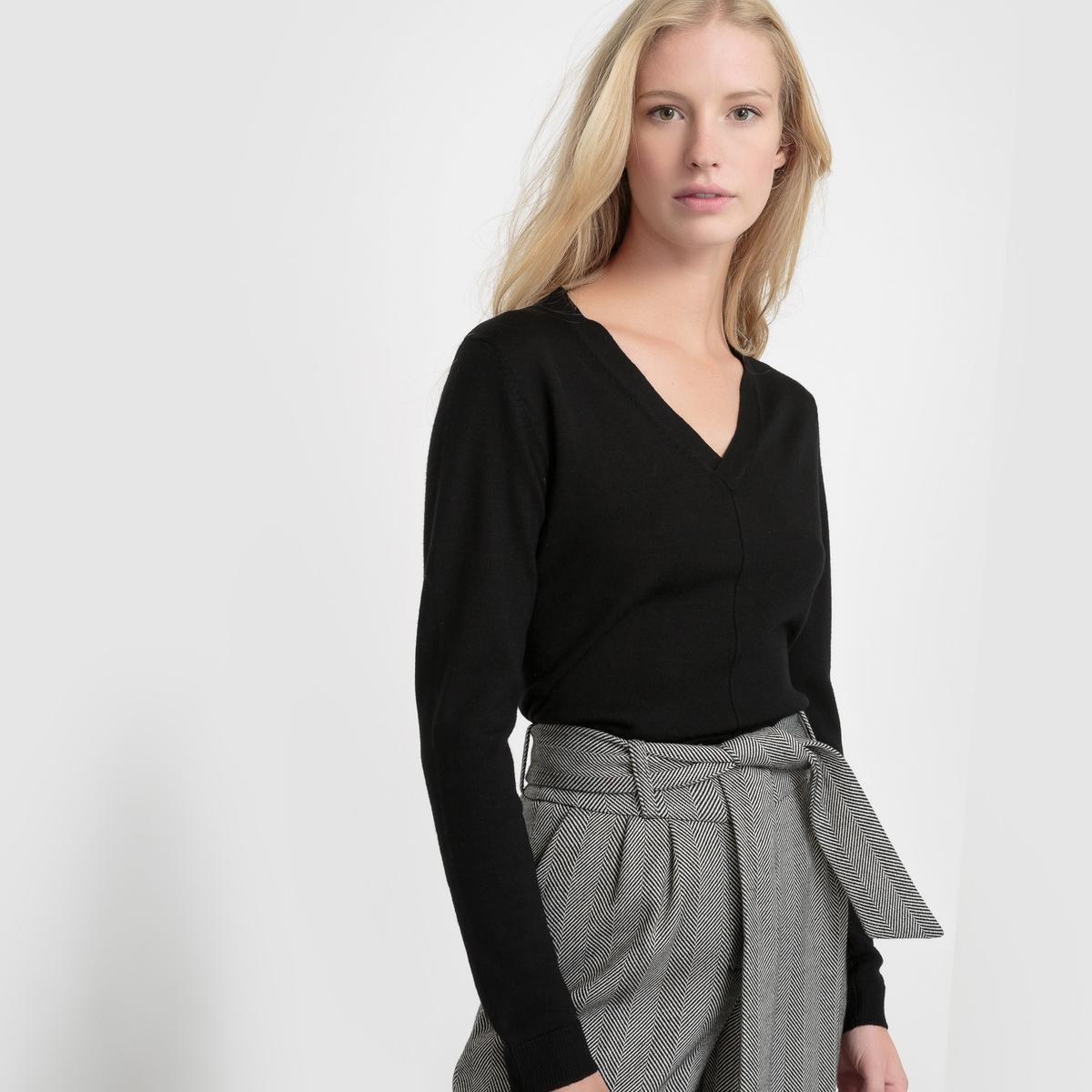 Пуловер с V-образным вырезом из 100% шерсти мериноса