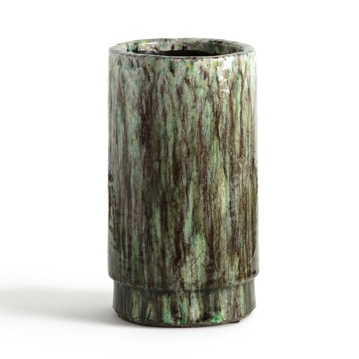Кашпо из керамики  H27 см, V?cordieКашпо . Из эмалированной керамики с неоднородным отражающим эффектом . Размеры : ?16 x H27 см .<br><br>Цвет: зеленый/ фиолетовый