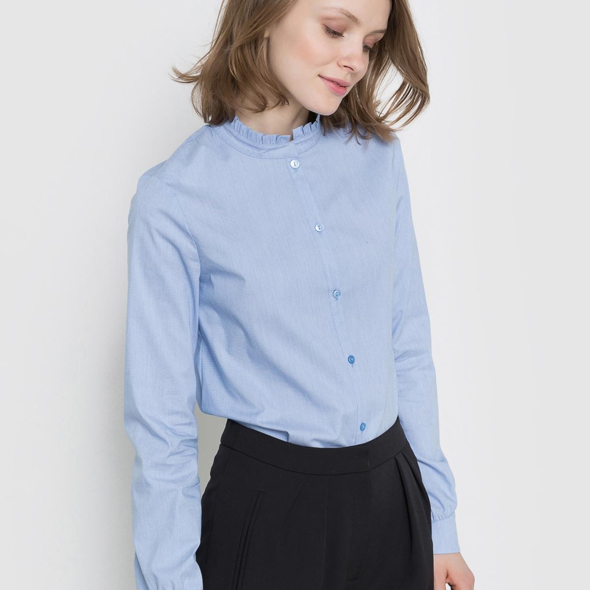 Рубашка с обшивкой воротаРубашка из удобной струящейся ткани. Обшивка ворота . Длинные рукава с застежкой на пуговицы. Тонкая планка застежки на пуговицы. вышивка в форме золотистого бантика вверху спинки .Состав и описание : Материал 69% хлопка, 28% полиамида, 3% эластана Длина 62 см Бренд: Mademoiselle RУход :Машинная стирка при 30° на деликатном режиме с одеждой подобного цвета .Стирать и гладить с изнанки.Машинная сушка запрещена.Гладить на низкой температуре.<br><br>Цвет: небесно-голубой<br>Размер: 44 (FR) - 50 (RUS)