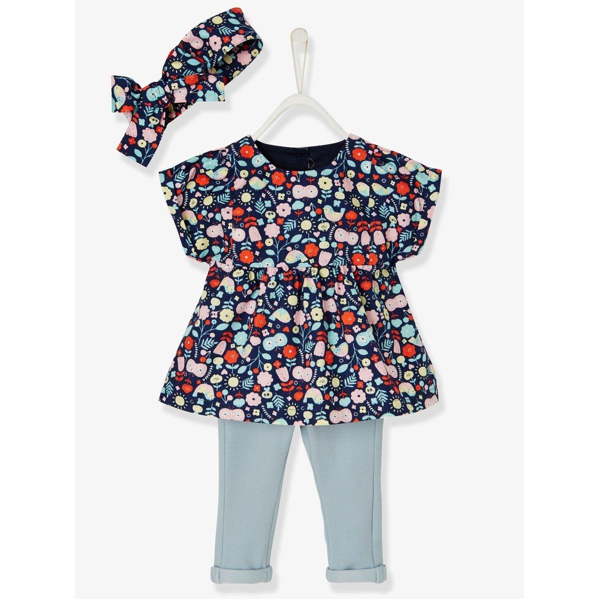 21. Ensemble fleurs bébé fille blouse, bandeau et tregging 6 mois 5ad8bfe6c07