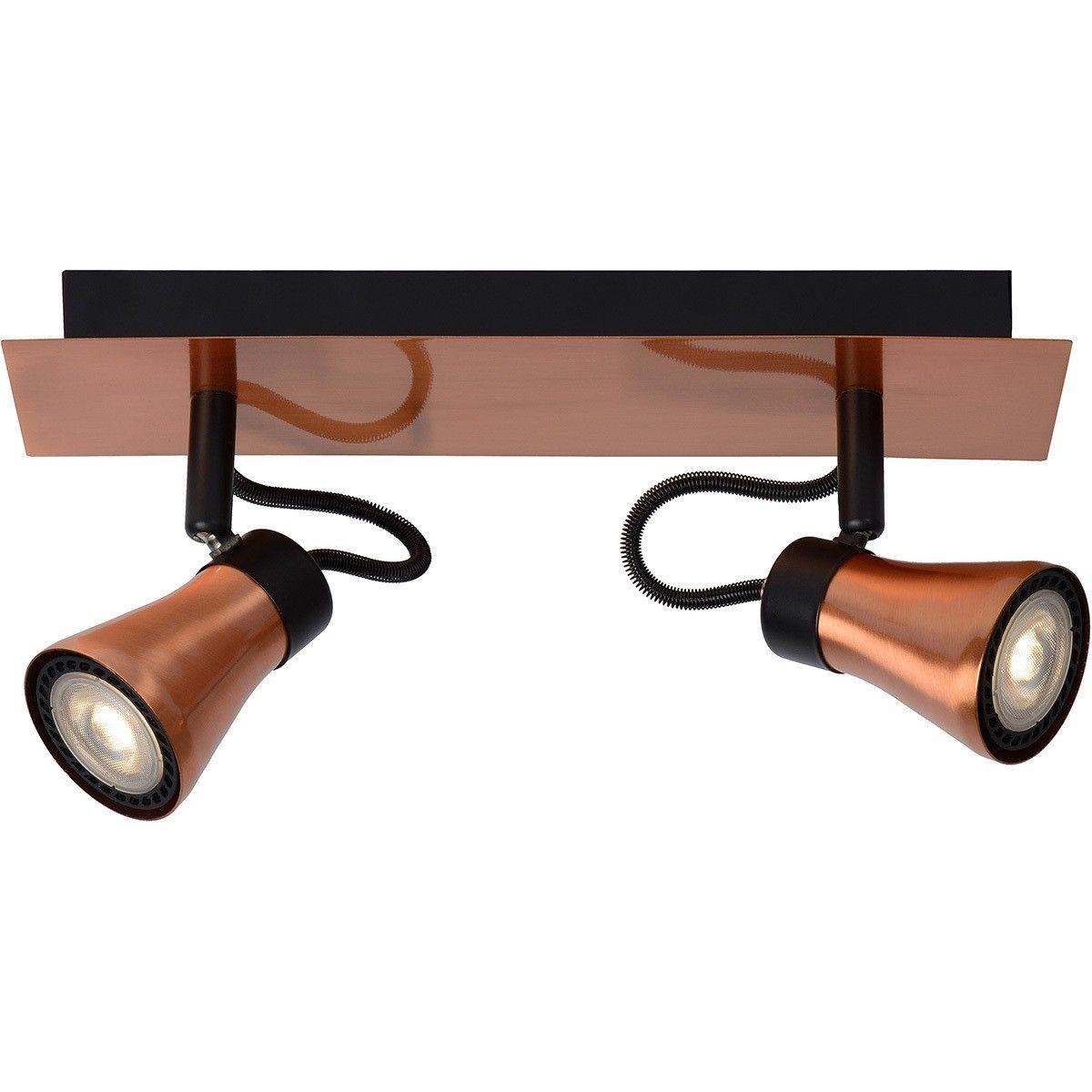 Réglette 2 spots LED orientables BOLO LED cuivre en métal