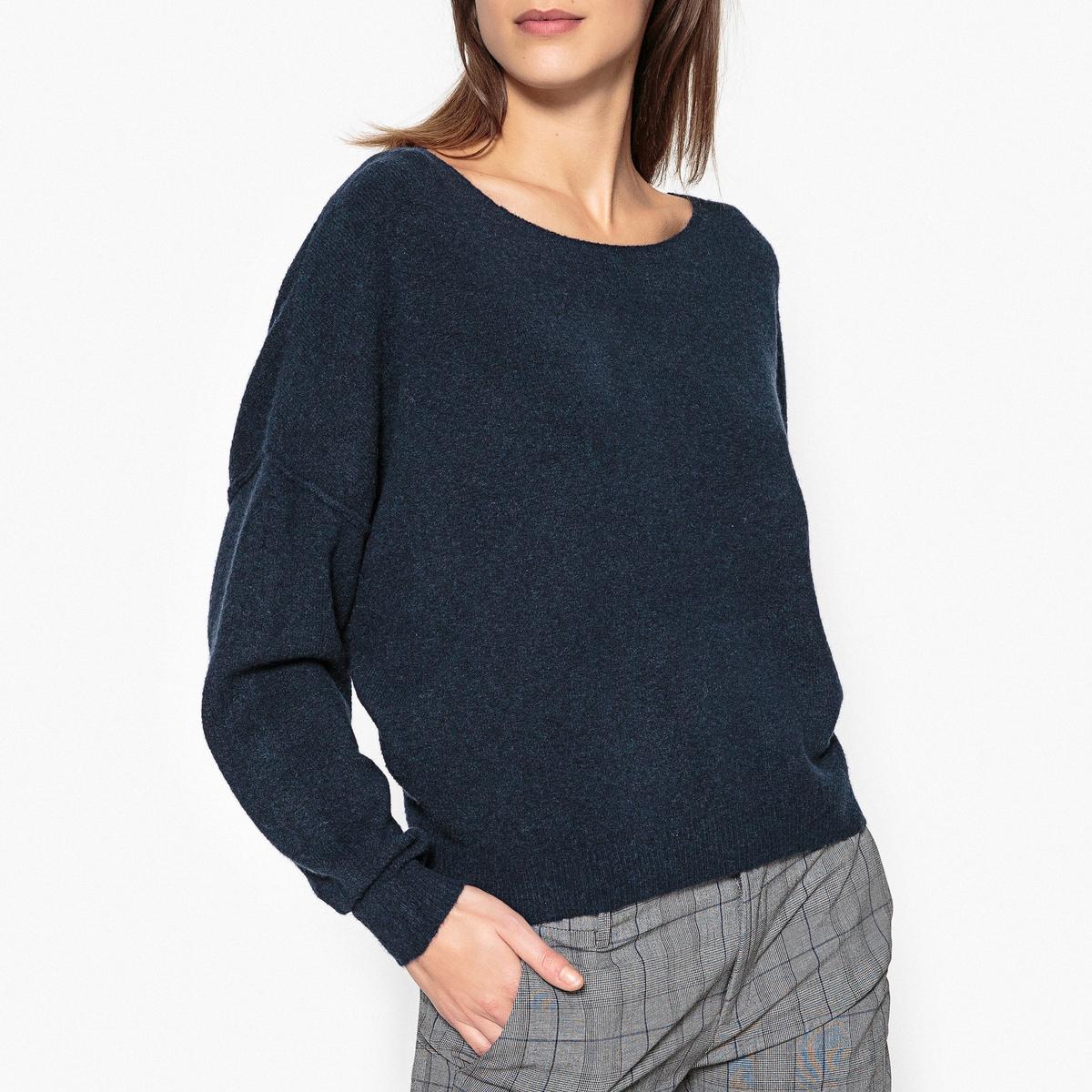 Пуловер с круглым вырезом из тонкого трикотажа DAMОписание:Пуловер с длинными рукавами AMERICAN VINTAGE - модель DAM. Вырез-лодочка, объемный и короткий покрой . Детали •  Длинные рукава •  Вырез-лодочка •  Тонкий трикотажСостав и уход •  48% полиамида, 32% шерсти, 16% акрила, 4% эластана •  Следуйте рекомендациям по уходу, указанным на этикетке изделия •  Отделка в рубчик   •  Шов посередине сзади<br><br>Цвет: темно-синий<br>Размер: XS/S