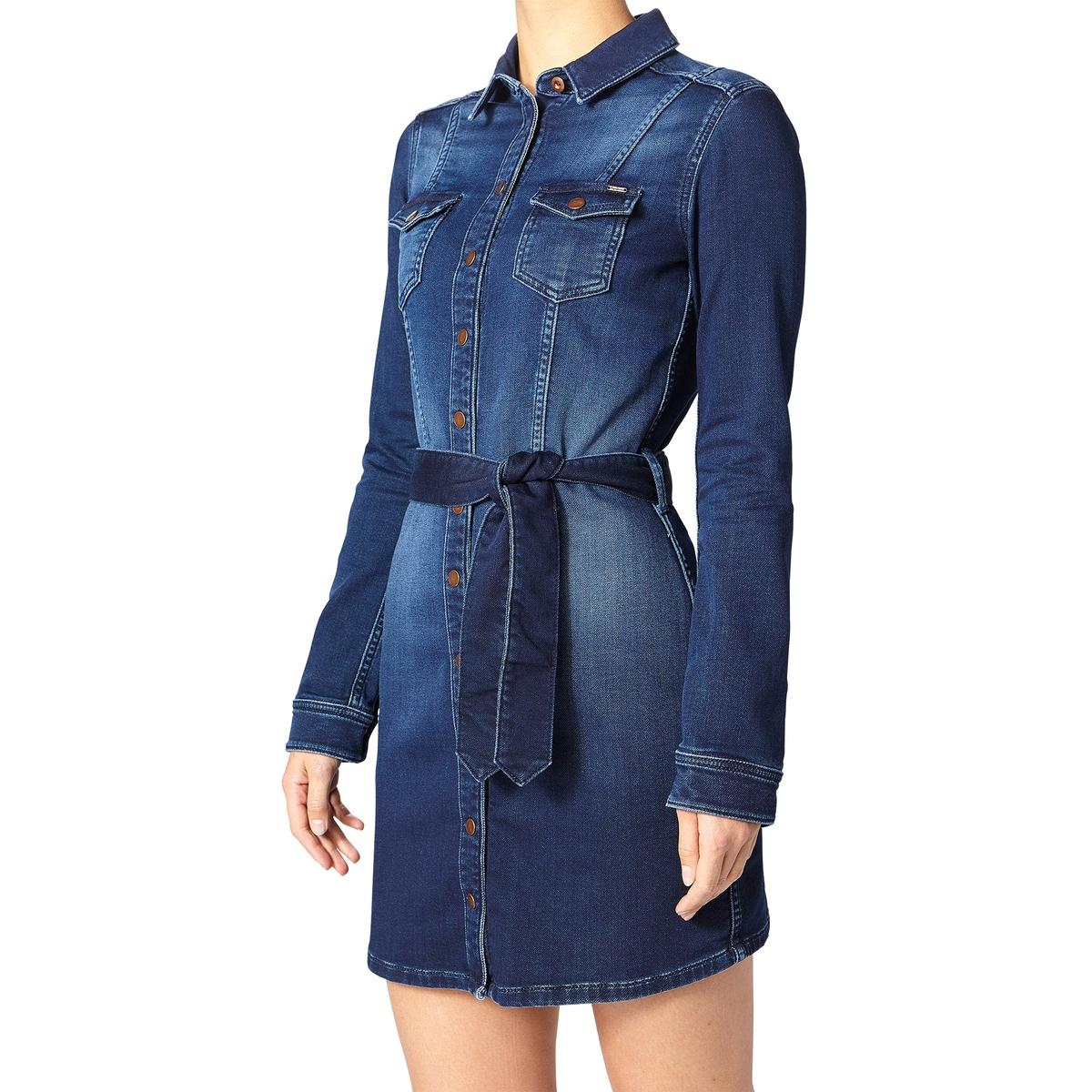 Платье короткое с длинными рукавамиДетали •  Форма : прямая  •  Короткое  •  Длинные рукава     •  Воротник-поло, рубашечный Состав и уход •  98% хлопка, 2% полиамида •  Следуйте советам по уходу, указанным на этикетке<br><br>Цвет: синий потертый<br>Размер: S.XL