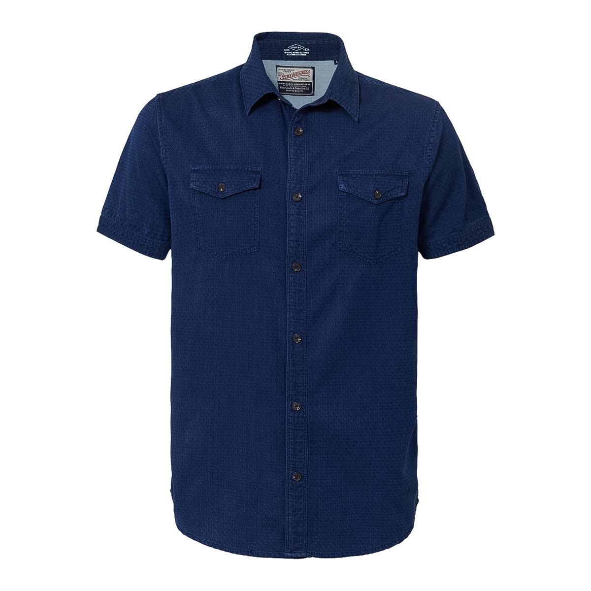 Рубашка с рисунком и короткими рукавамиОписание:Детали •  Короткие рукава •  Приталенный покрой   •  Классический воротник •  Рисунок-принтСостав и уход •  100% хлопок •  Следуйте рекомендациям по уходу, указанным на этикетке изделия<br><br>Цвет: темно-синий