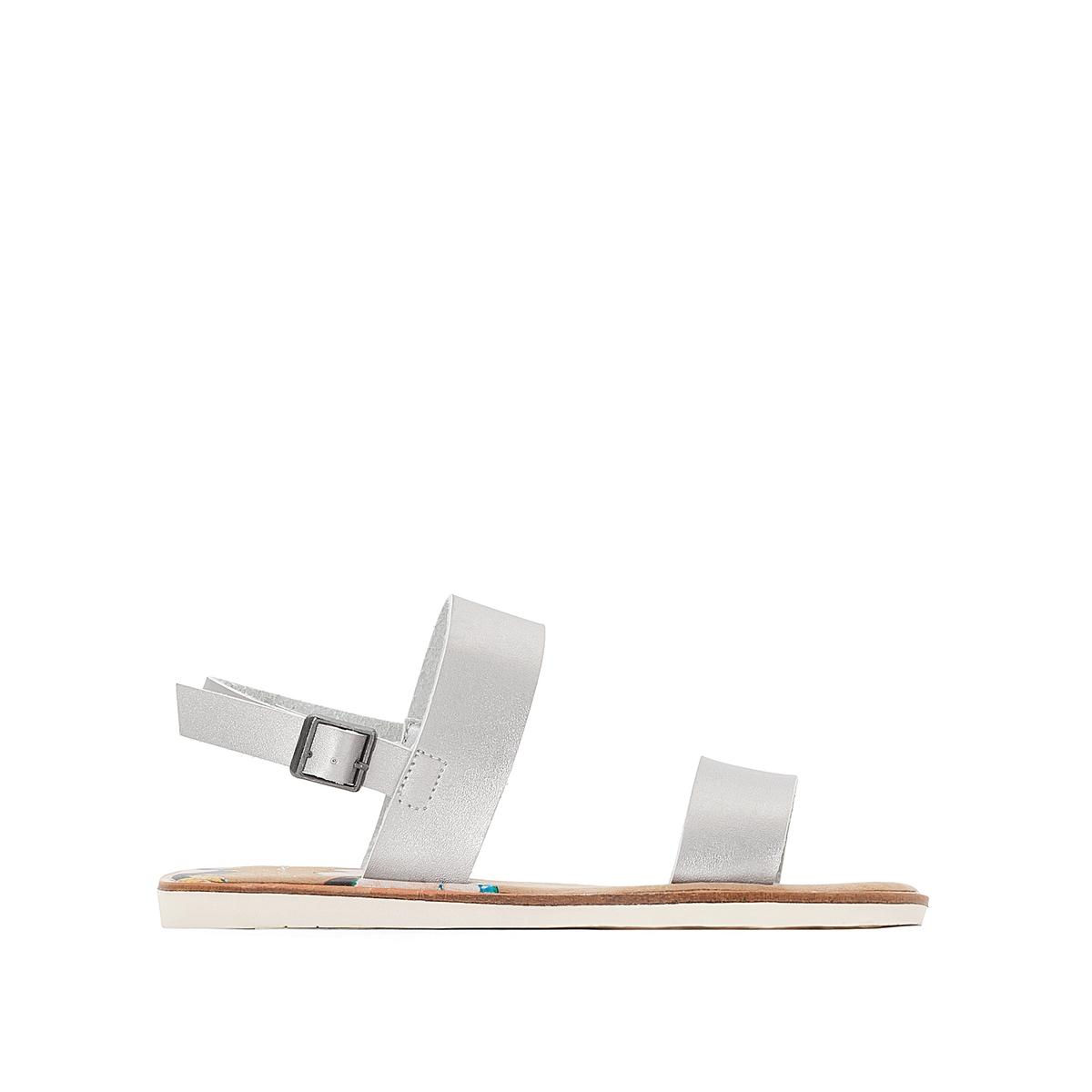 Босоножки MorelВерх/Голенище : синтетика   Стелька : микрофибра  Подошва : каучук   Форма каблука : плоский каблук  Мысок : закругленный мысок  Застежка : пряжка<br><br>Цвет: серебристый<br>Размер: 36.38.39