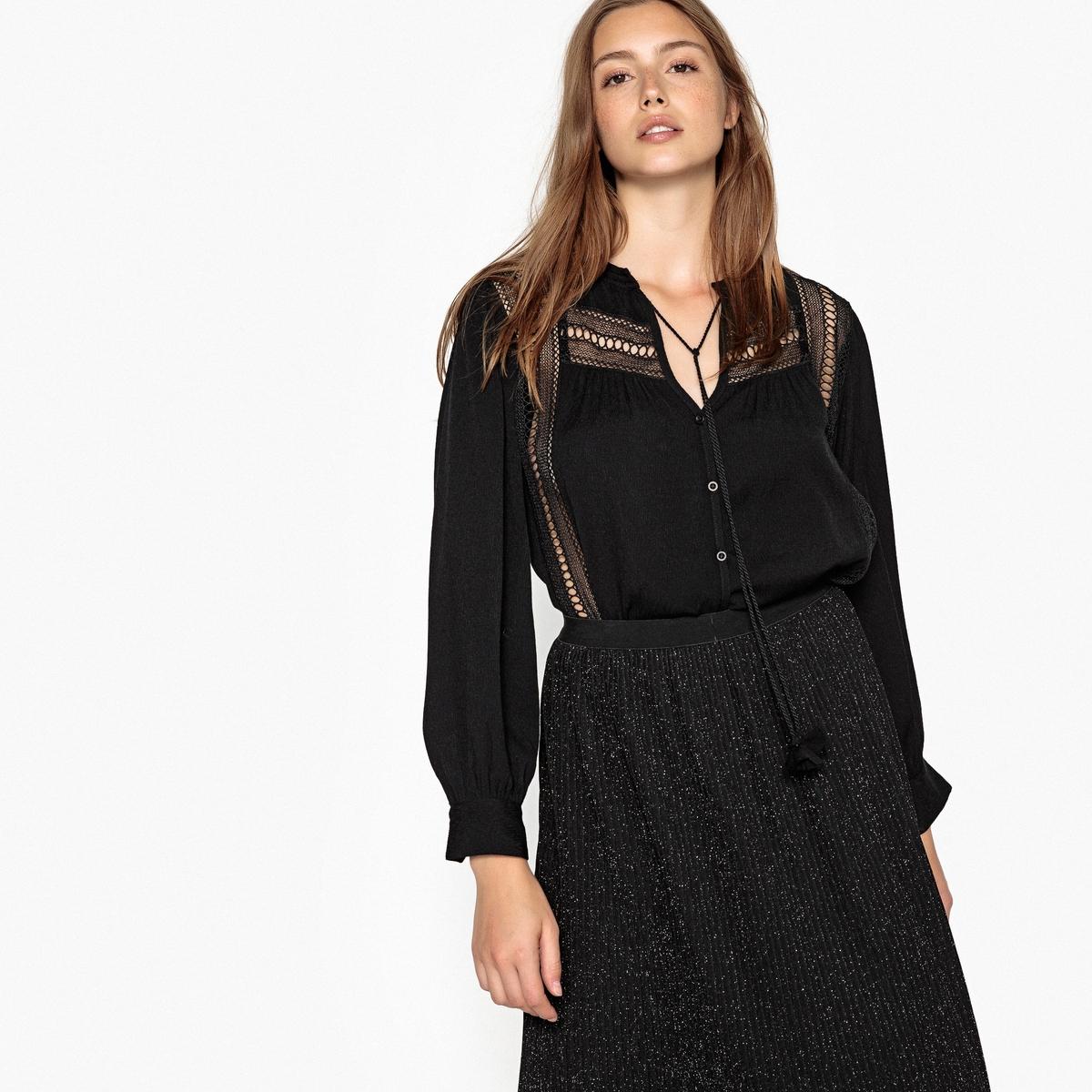 Блузка с V-образным вырезом и длинными рукавами футболка базовая с u образным вырезом