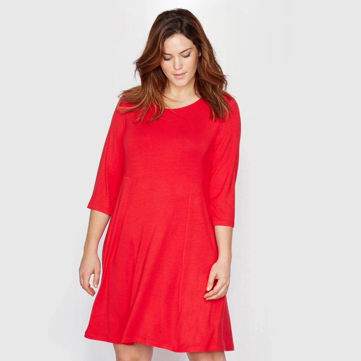Платье фасона солнце-клеш, из трикотажаЖенственный покрой. Расклешенный покрой идеален для того, чтобы элегантно скрыть некоторые наши формы  . Вытачки под грудью. Рукава 3/4. Трикотаж, 95% вискозы, 5% эластана. Длина 90 см.<br><br>Цвет: красный<br>Размер: 48 (FR) - 54 (RUS)