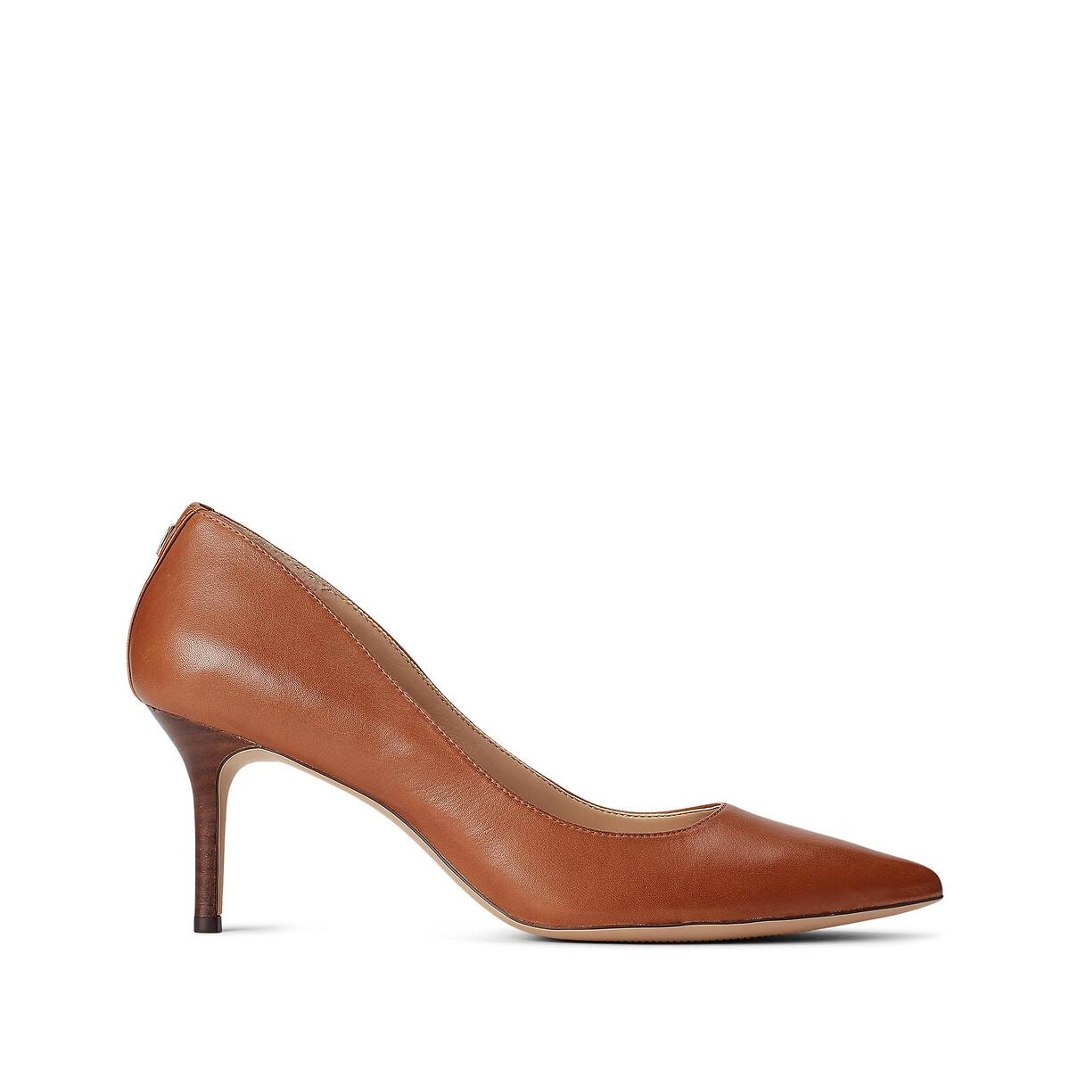 Туфли LaRedoute Из кожи на каблуке-шпильке 36 каштановый