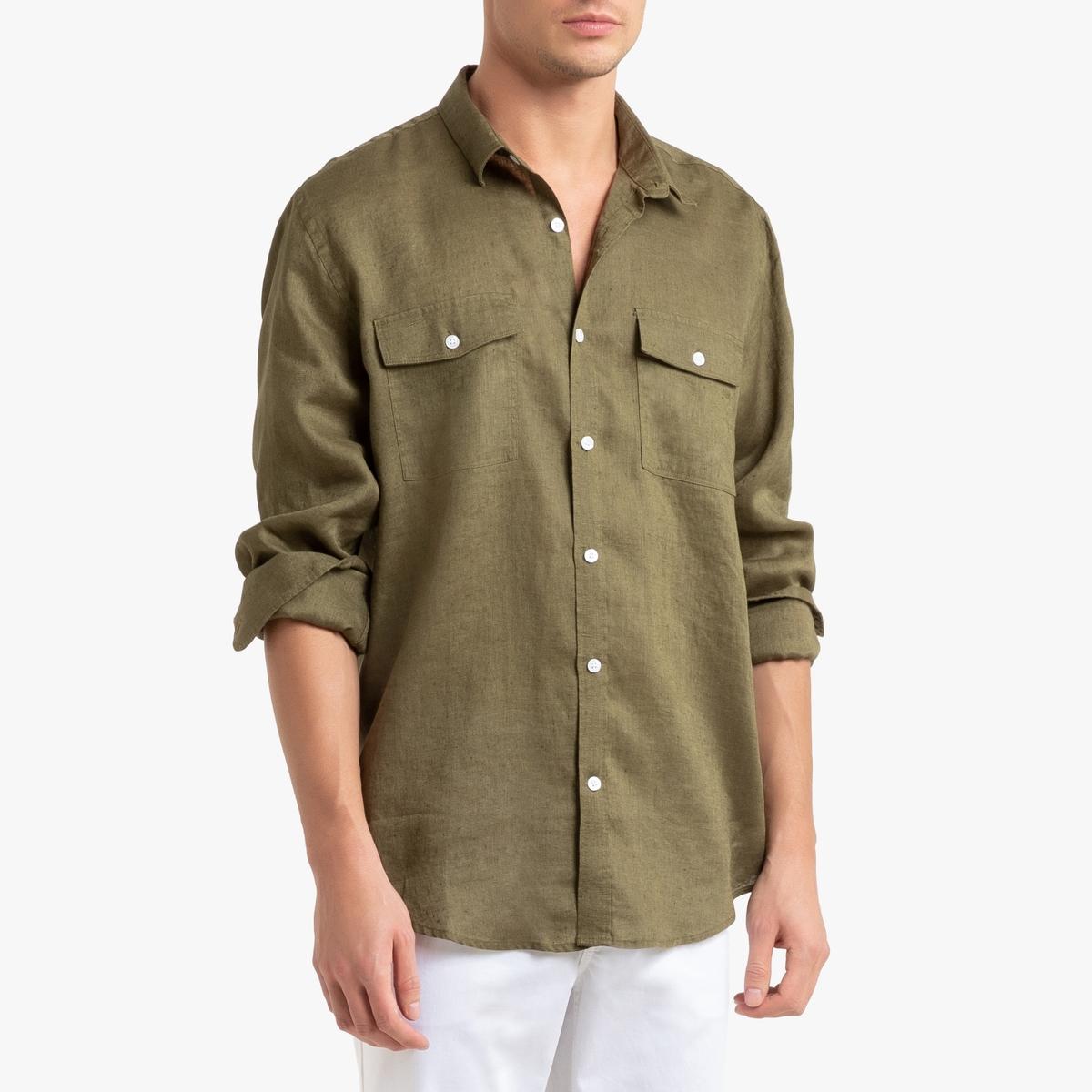 Camisa recta de lino