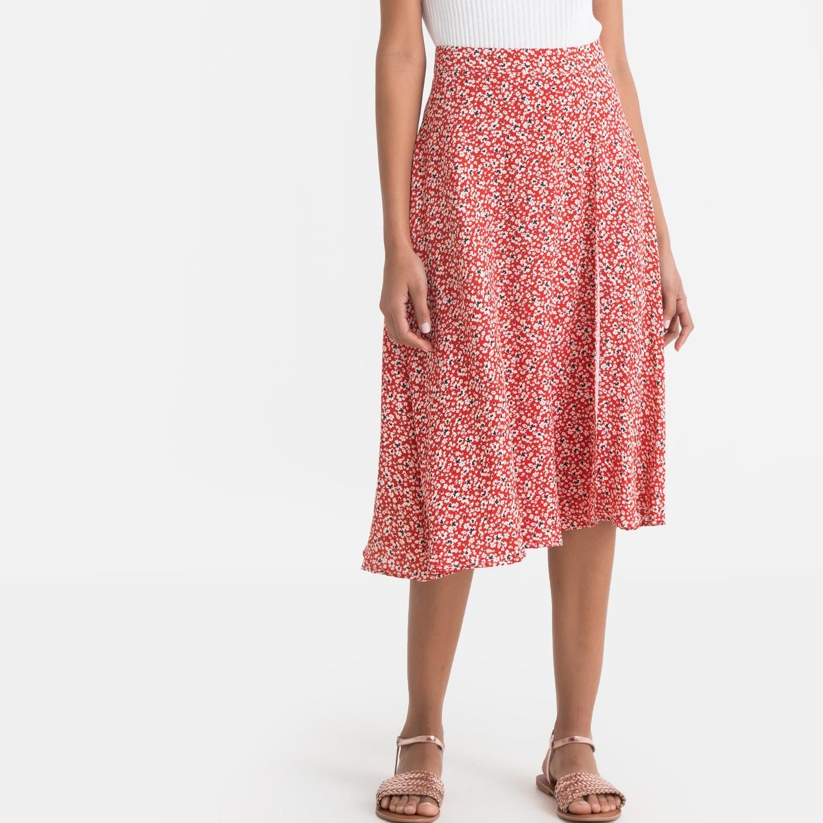 Юбка La Redoute С запахом с цветочным рисунком 44 (FR) - 50 (RUS) красный юбка с запахом на пуговицах