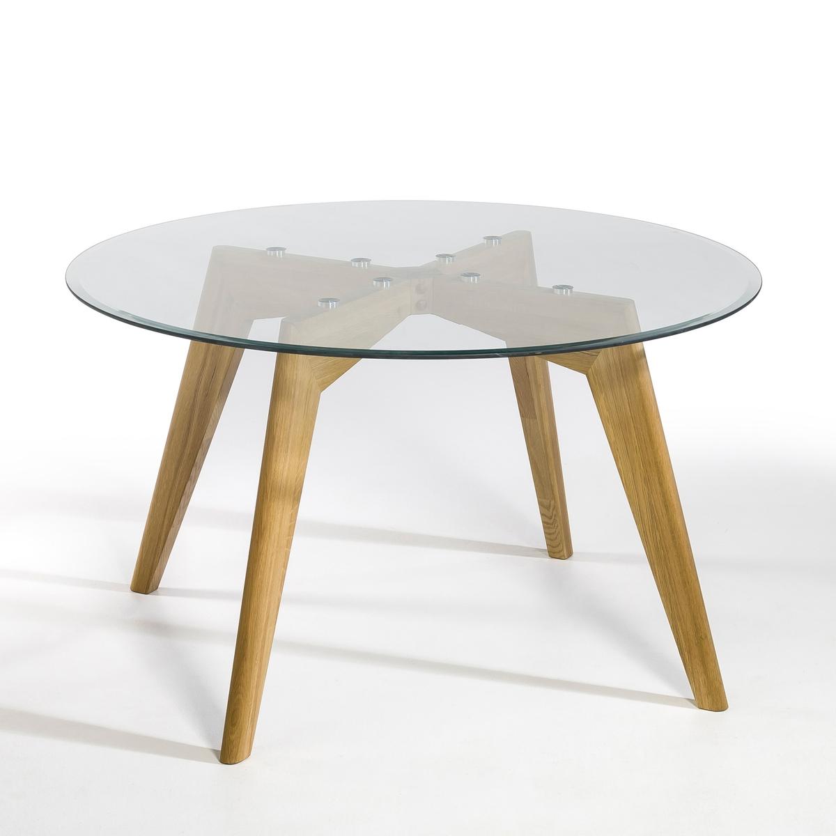 Стол круглый из стекла и дуба Ø130 см, Kristal