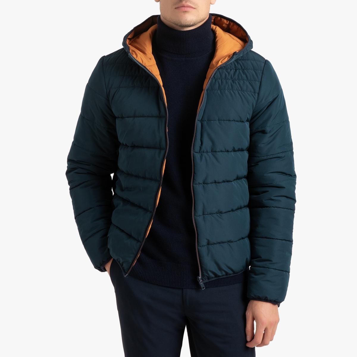 Куртка La Redoute Укороченная стеганая с двухсторонним капюшоном XXL синий