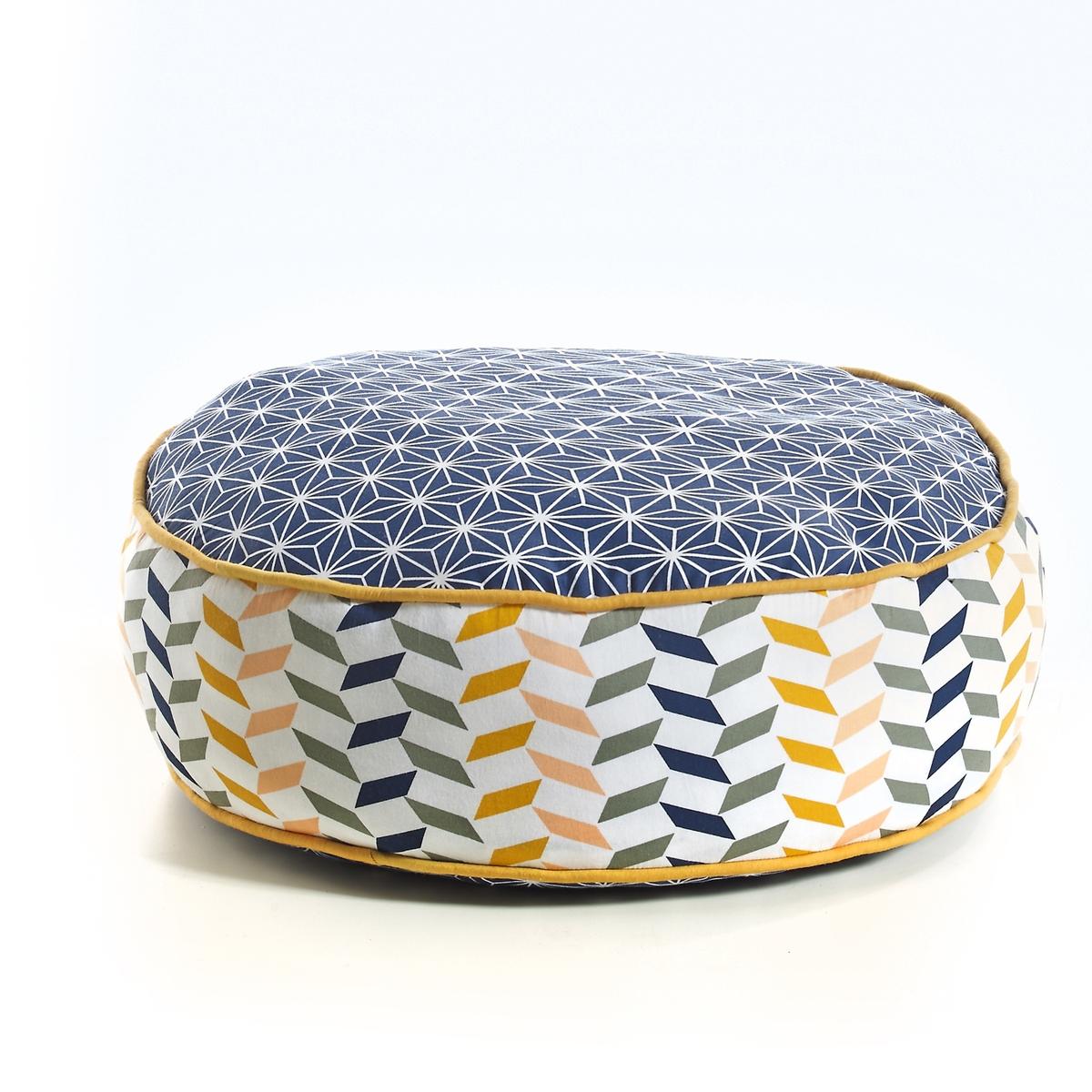 Пуф с рисункомКруглый пуф с рисунком Rudel : графичный разноцветный рисунок!Описание пуфа с рисунком Rudel :Наполнитель из 75% хлопка, 25% полиэстераПлотная ткань, 100% хлопковый сатинРазмеры пуфа с рисунком Rudel :Высота 15 см? 45 см<br><br>Цвет: темно-синий/серый/желтый