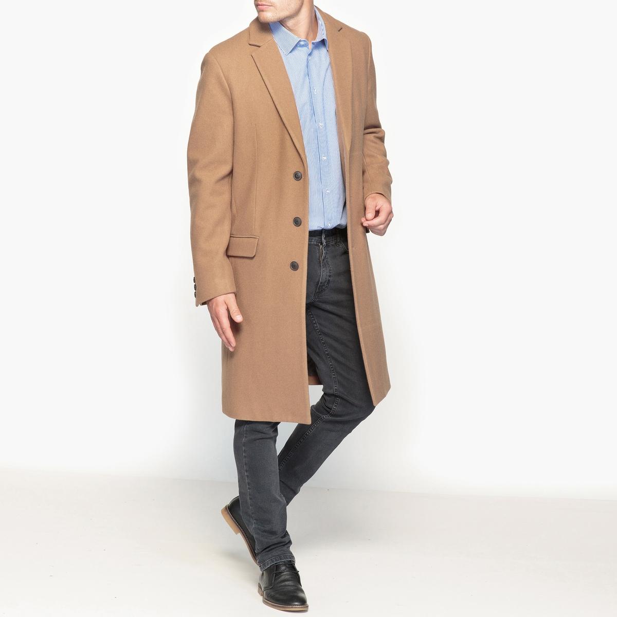 Пальто длинное из смесовой шерстяной ткани от La Redoute