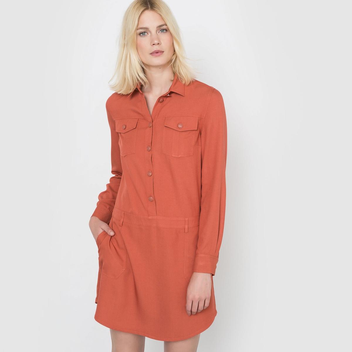 Платье-рубашкаОтрезная талия со шлевками для ремешка . 2 больших накладных кармана. Слегка закругленный низ.   Состав и описаниеМатериал : 65% вискозы, 35% полиэстера.Длина : 90 смМарка : R studio.Уход:Машинная стирка при 30 °C в деликатном режимеСтирать с вещами схожих цветовЗапрещено отбеливаниеГладить при средней температуреСухая (химическая) чистка запрещенаМашинная сушка запрещена<br><br>Цвет: красный/ кирпичный,черный<br>Размер: 38 (FR) - 44 (RUS).46 (FR) - 52 (RUS)