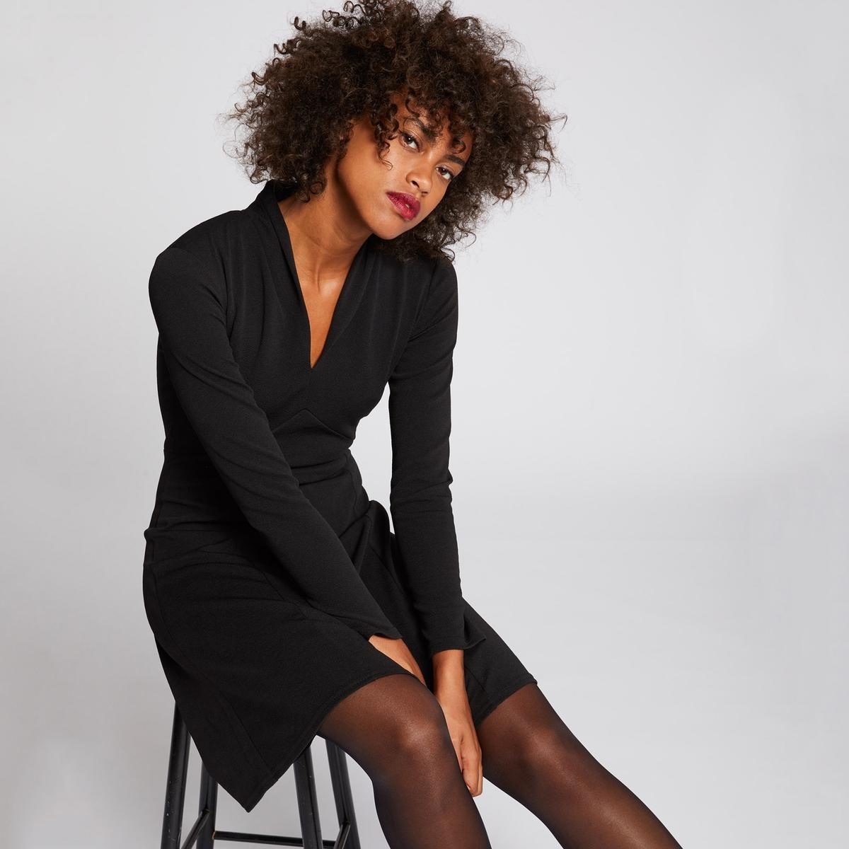 Платье La Redoute Расклешенное с рукавами и глубоким вырезом 42 (FR) - 48 (RUS) черный платье la redoute расклешенное с короткими рукавами с гипюром 42 fr 48 rus черный