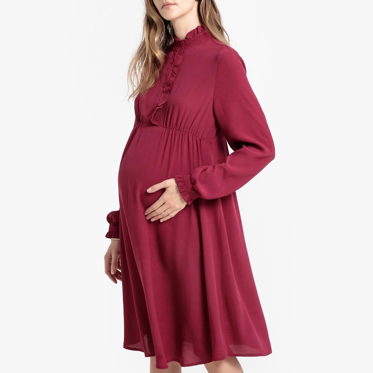 Платье La Redoute Для периода беременности с воротником-стойкой с воланом 46 (FR) - 52 (RUS) красный цена и фото