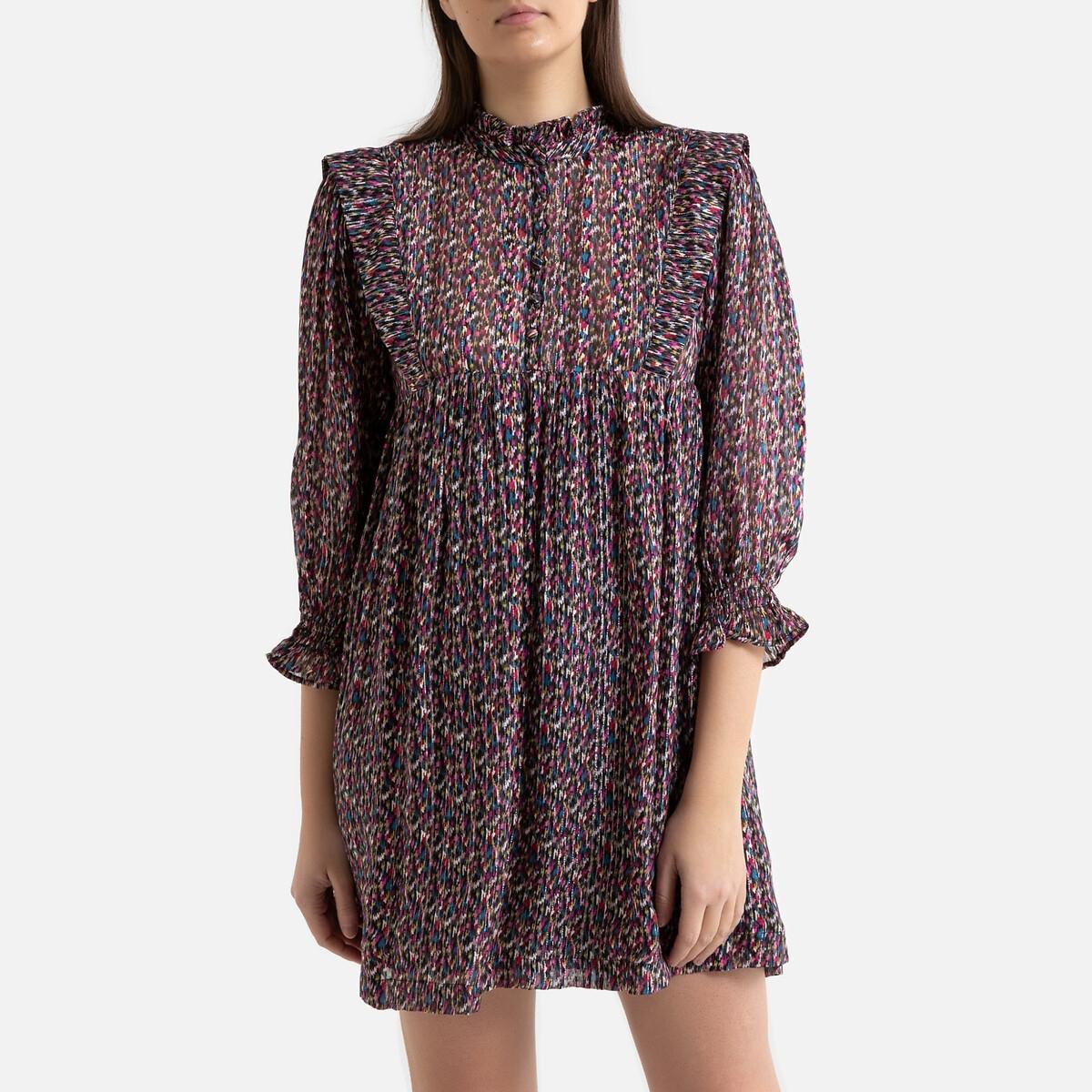 Платье La Redoute С принтом короткое и объемное с рукавами DEEP 3(L) черный цена