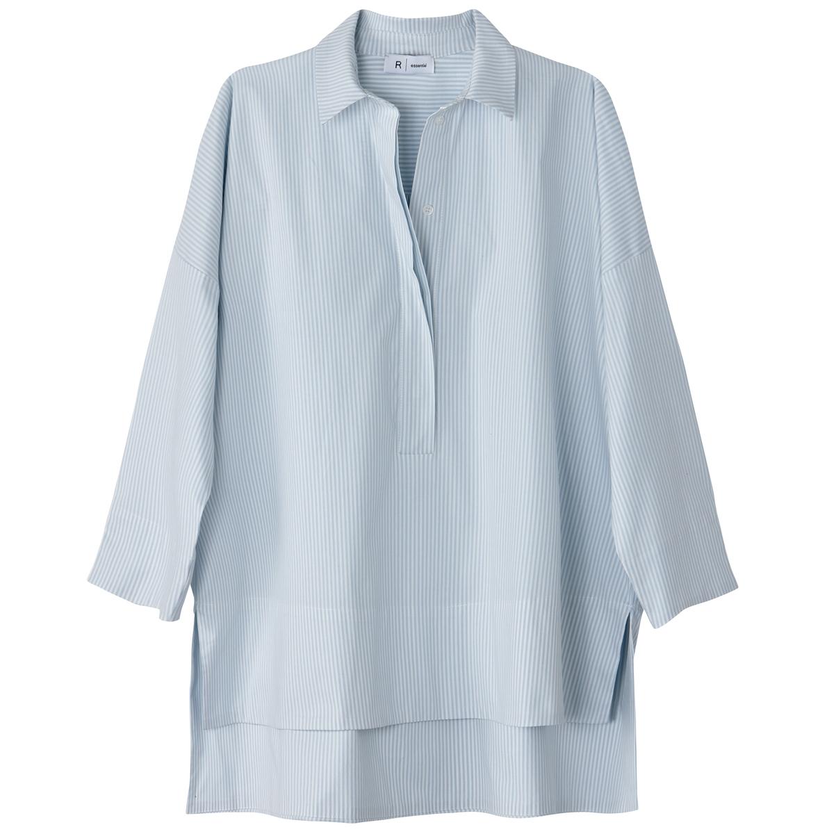 Блузка-поло в полоску с разрезами на манжетах