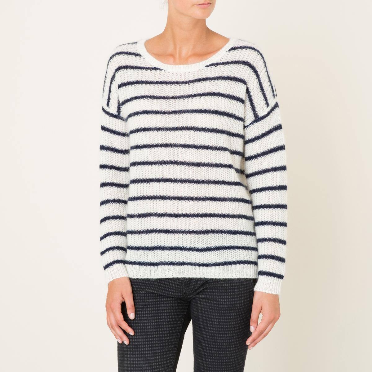 Пуловер THEBESПуловер HARRIS WILSON - модель THEBES. Трикотаж в полоску в морском стиле. Глубокий круглый вырез. Длинные рукава. Края рукавов и низа связаны в рубчик.Состав и описание Материал : 40% полиамида, 30% шерсти ангора бэби, 30% шерстиМарка : HARRIS WILSON<br><br>Цвет: экрю/ темно-синий<br>Размер: размерXL