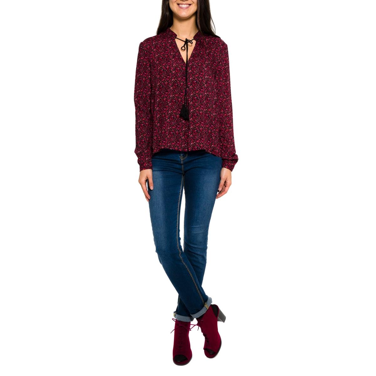 Блузка с длинными рукавамиСостав и описание     Материал: 100% вискозы.     Марка: PARAMITA<br><br>Цвет: бордовый/цветочный рисунок