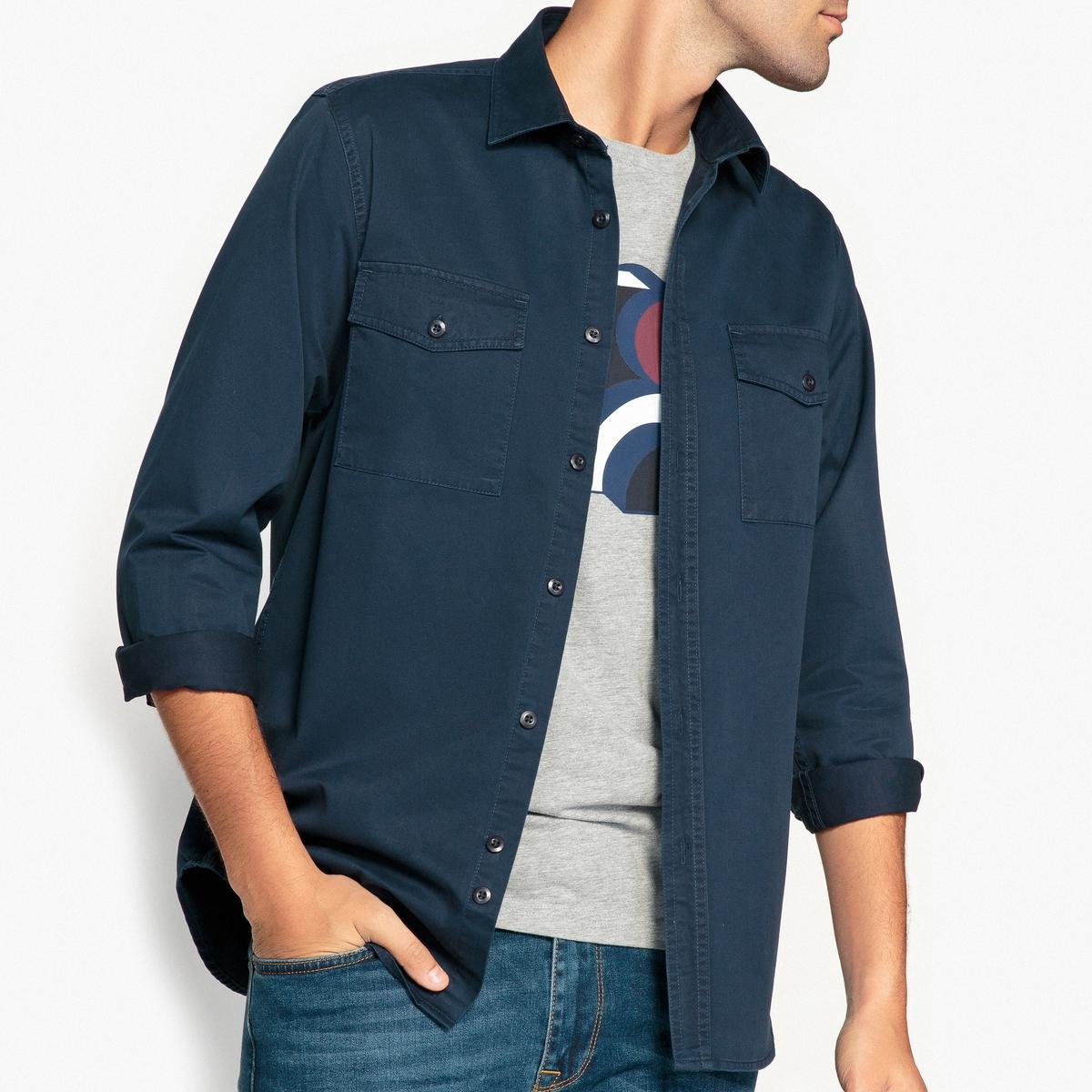 Camisa lisa de manga larga