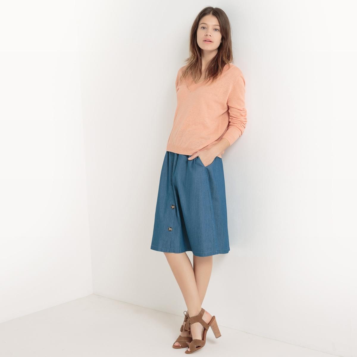 Юбка-миди из легкого денимаМатериал : 82% хлопка, 18% модала        Рисунок : Однотонная модель      Длина юбки : до колен<br><br>Цвет: синий потертый
