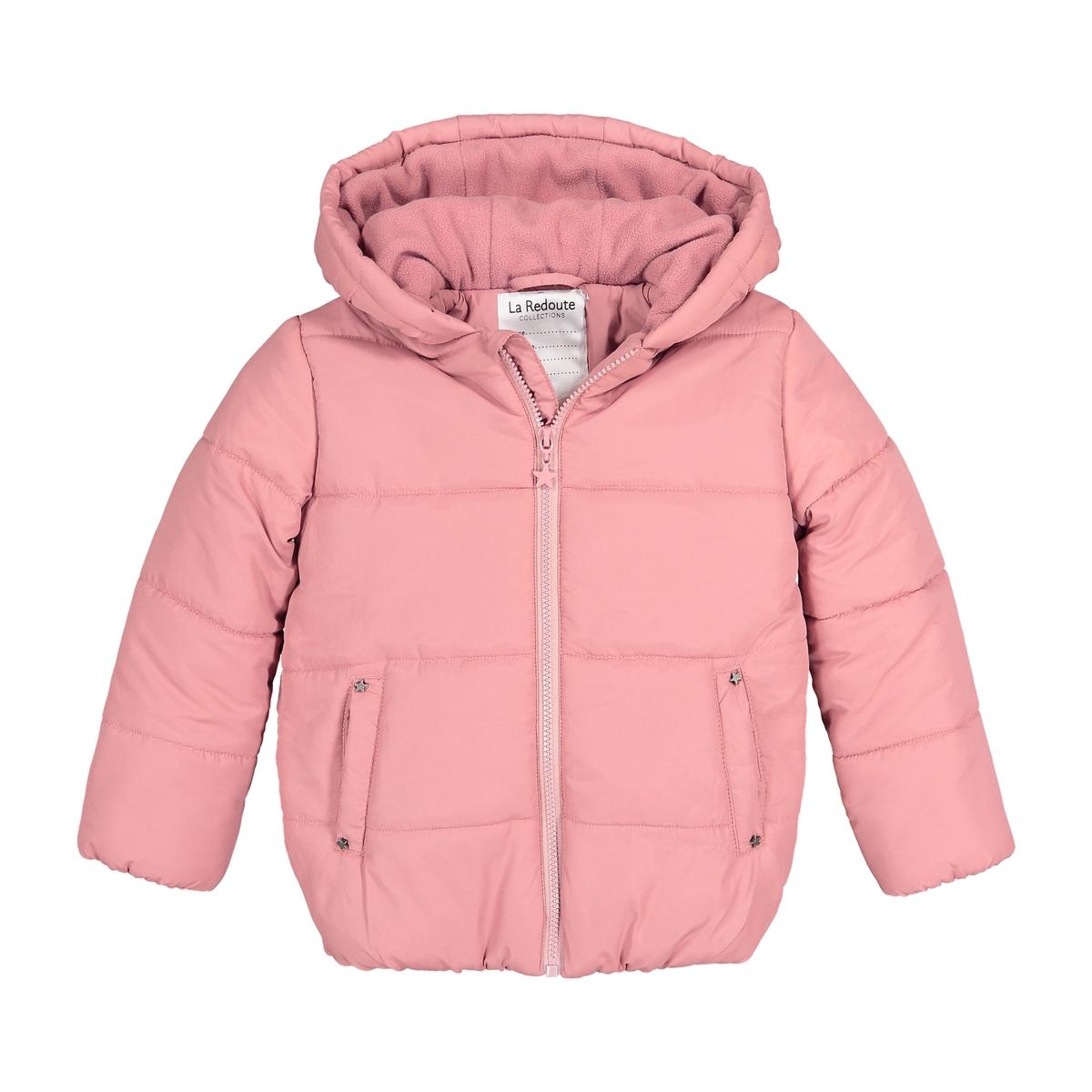 Куртка La Redoute С капюшоном укороченная и утепленная 12 лет -150 см розовый куртка с капюшоном со звездочками фиолетовая in extenso