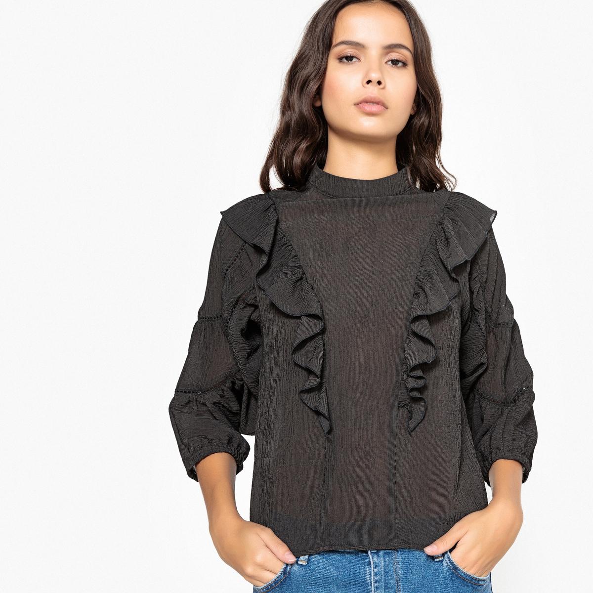 Блузка с воланами, воротником-стойкой и широкими рукавами