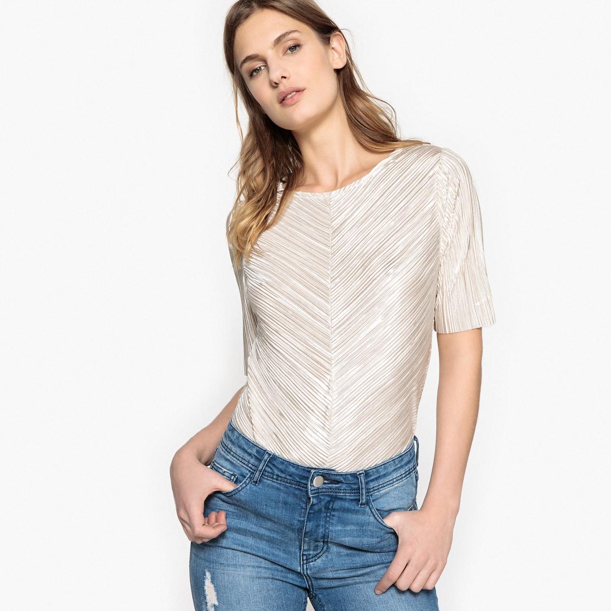 Блузка однотонная с круглым вырезом и рукавами 3/4 блуза vila vila vi004ewupu77