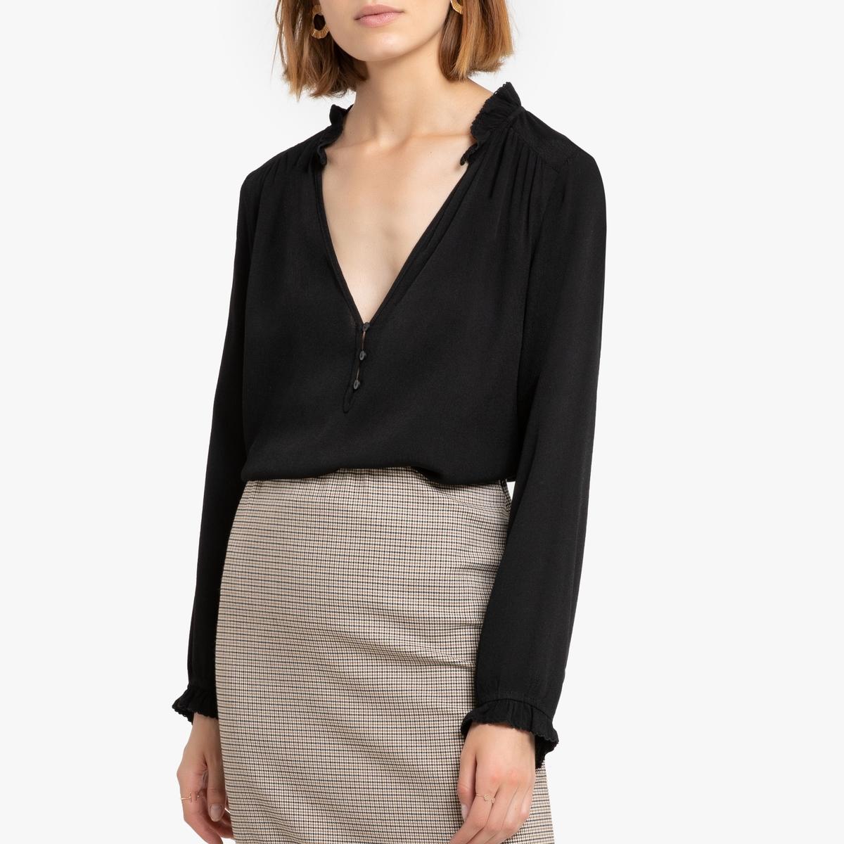 Блузка La Redoute С длинными рукавами и V-образным вырезом 0(XS) черный футболка la redoute с длинными рукавами и v образным вырезом из кружева s черный