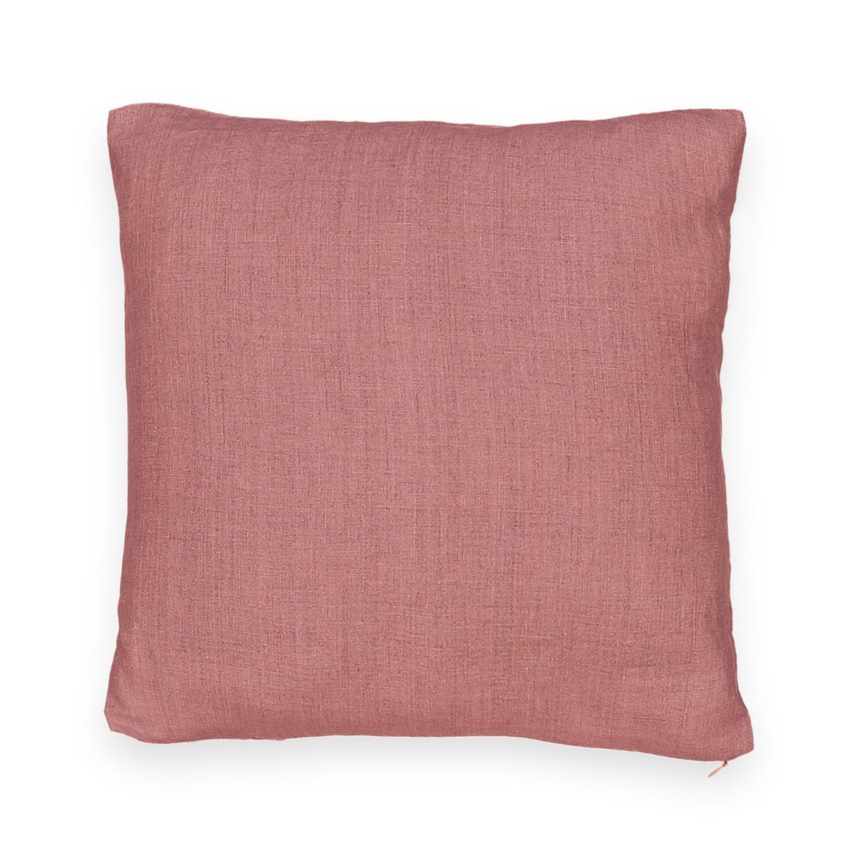 Чехол La Redoute На подушку-валик из стираного льна ONEGA 50 x 30 см розовый штора затемняющая из стираного льна с кожаными шлевками private