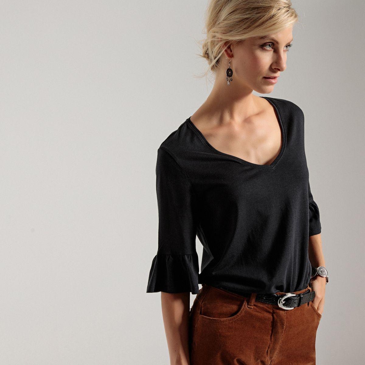 T-shirt tunique, manches fantaisie, coton et modal