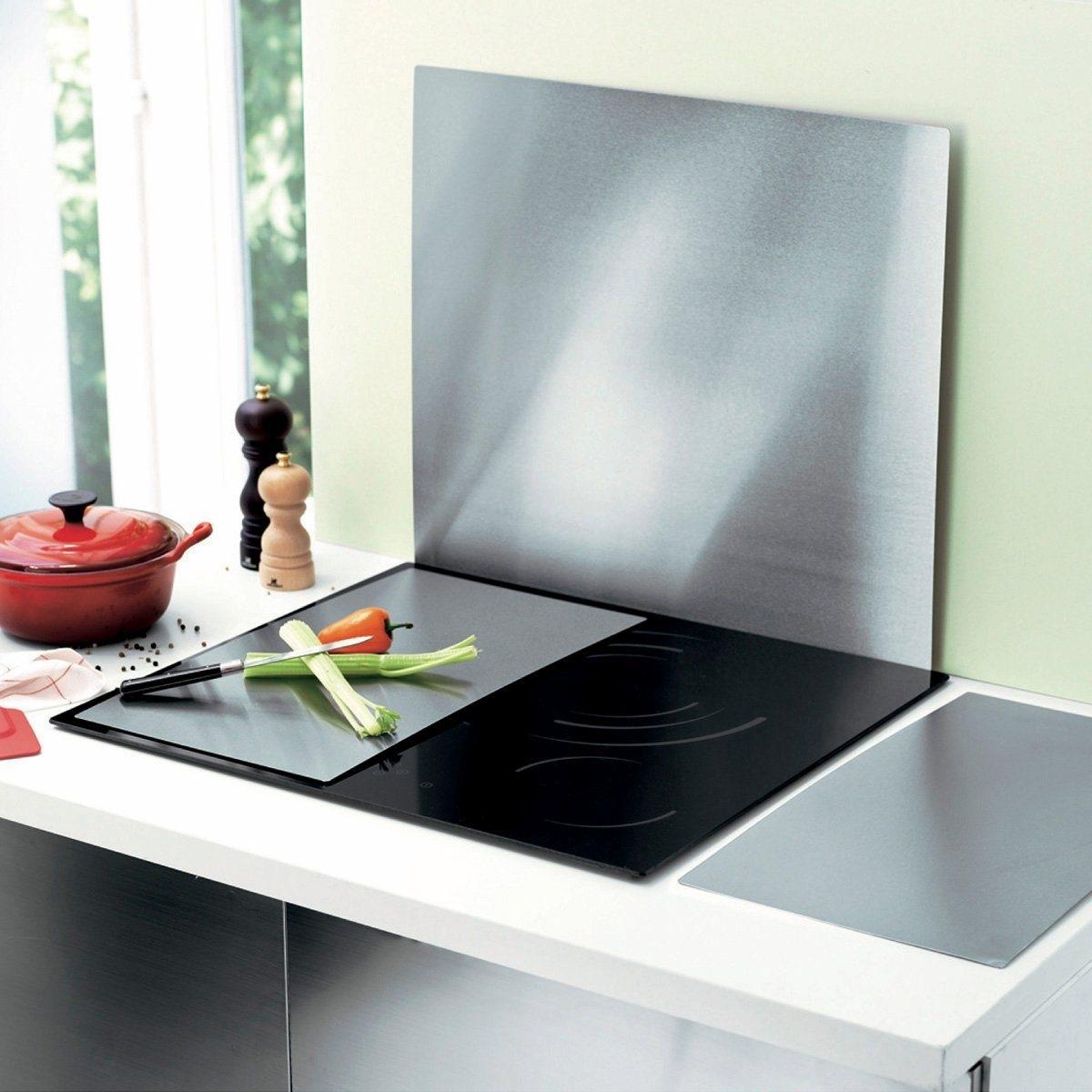 2 панели для плитыЗащитите стеклокерамическую или индукционную варочную панель от ударов и царапин! Простые в использовании панели увеличат полезное пространство рабочего места. Из нержавеющей стали с потертым эффектом. Размер: 48,5 х 27 х 0,08 см.<br><br>Цвет: серый стальной