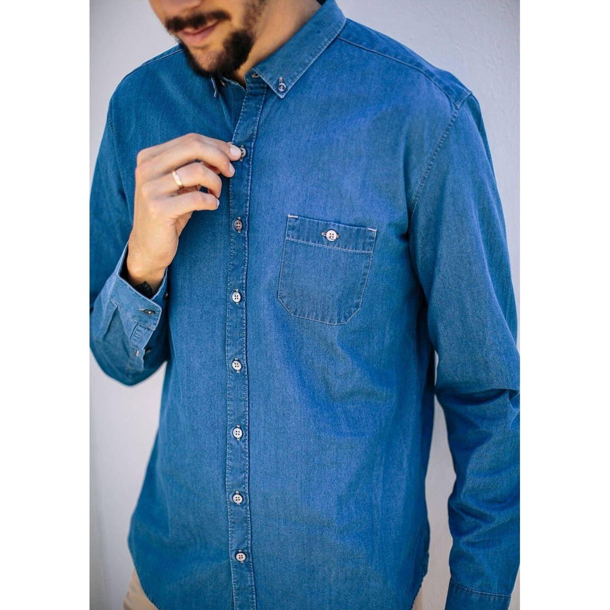 Chemise jean col boutonné CENTRE JEAN