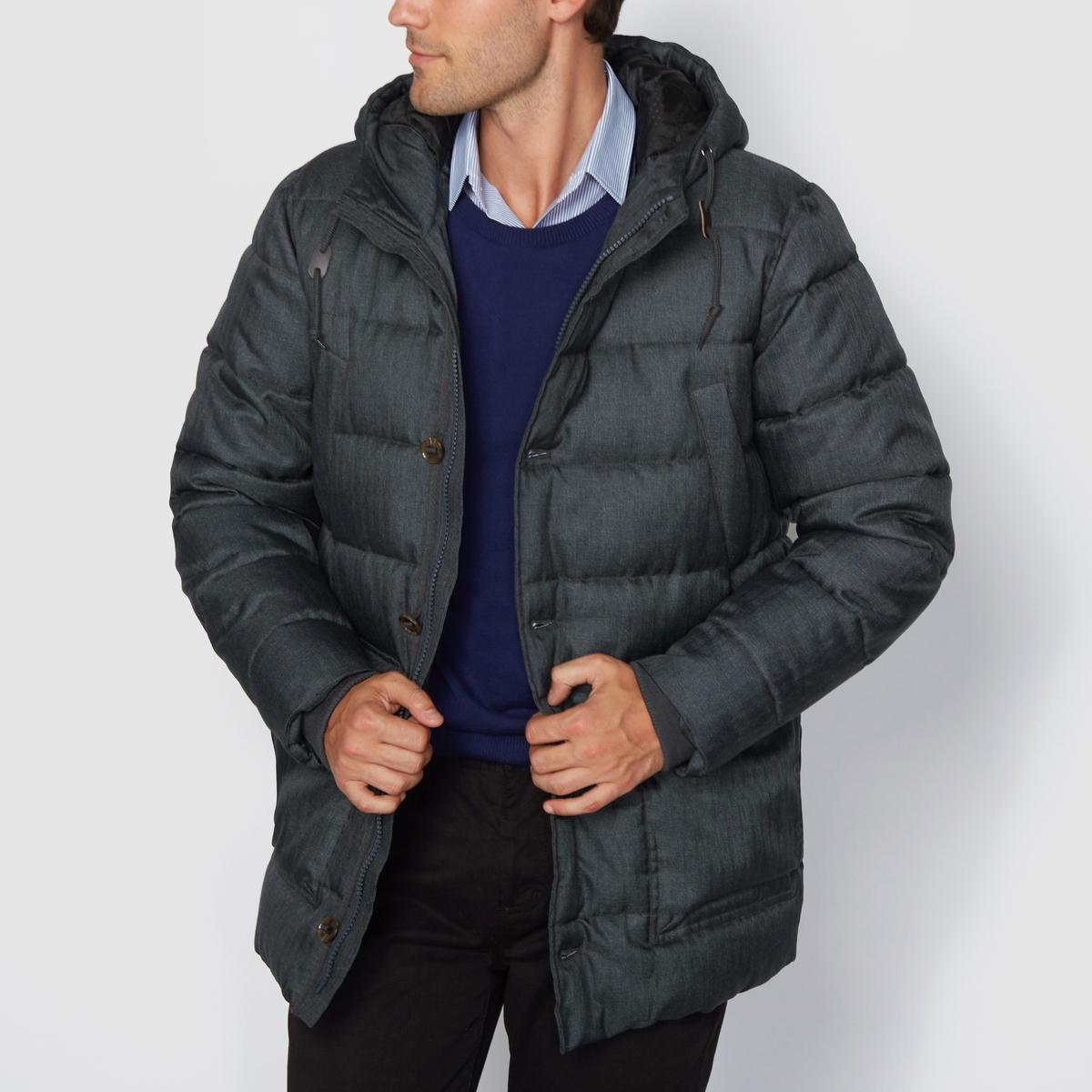 Куртка стёганая с капюшономМатериал : 100% полиэстера.Застежка на молнию.Карманы по бокам.<br><br>Цвет: серый
