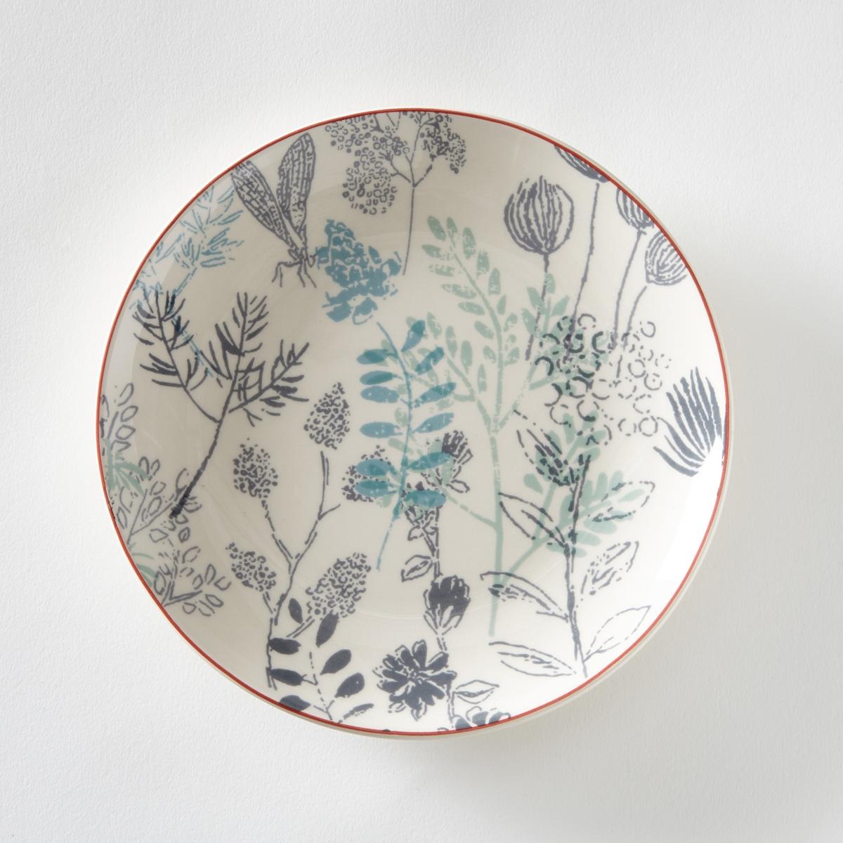 4 десертные тарелки с рисунком гербарий