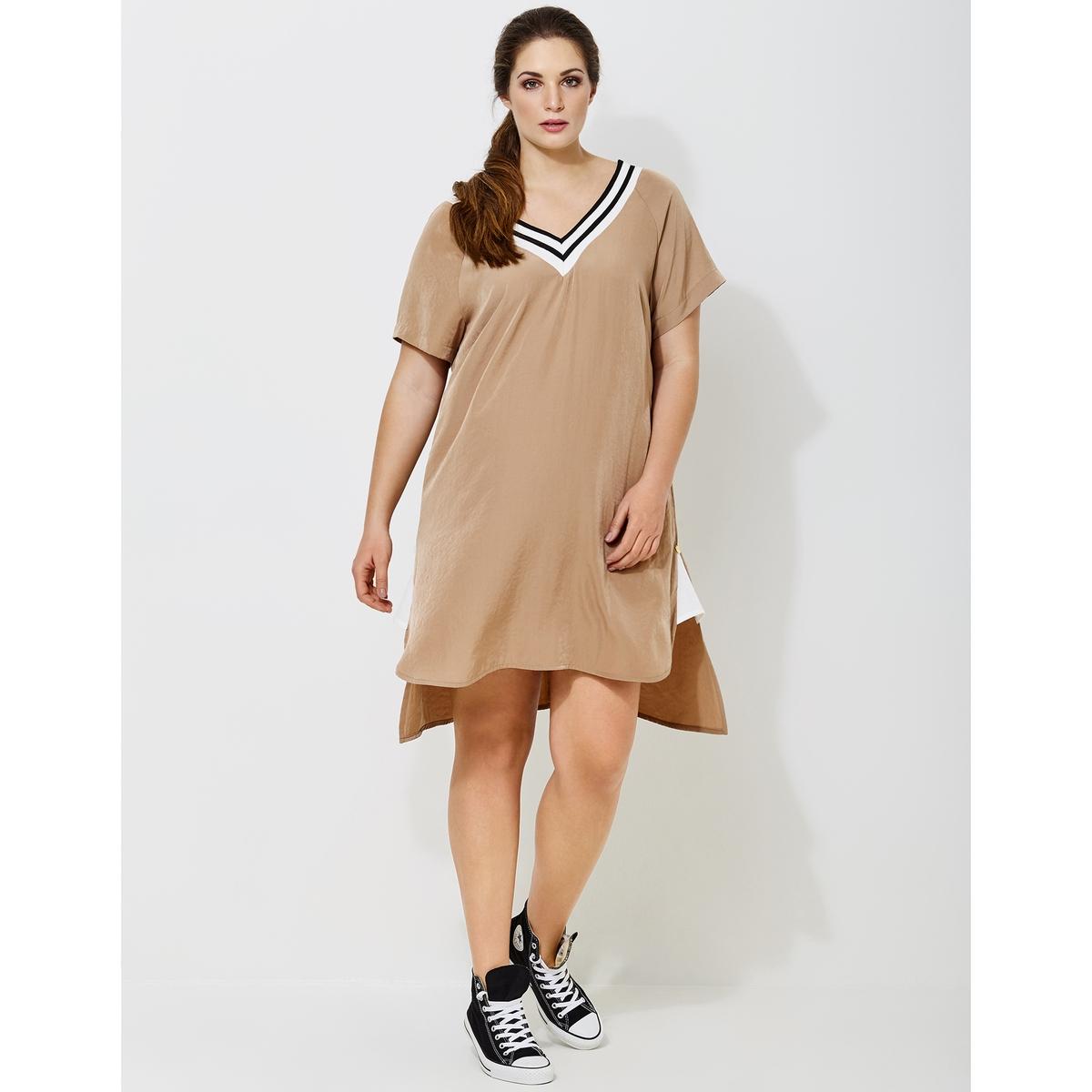 Платье расклешенное с короткими рукавами и V-образным вырезом полуприлегающее платье с v образным вырезом gf ferre платья и сарафаны мини короткие