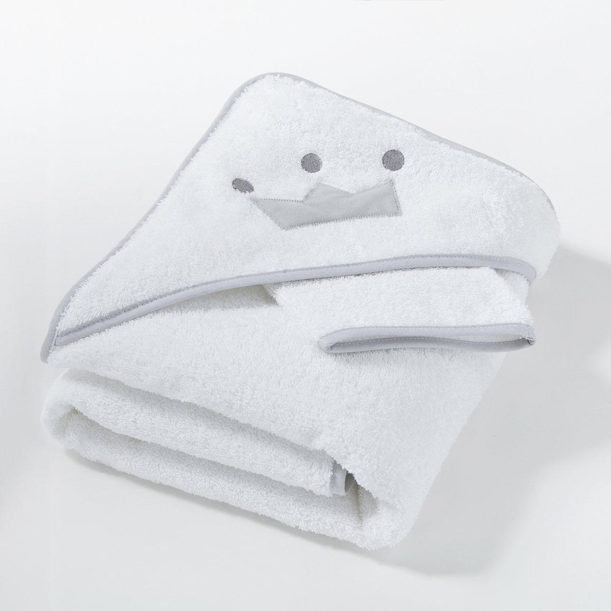 Банная накидка и рукавичка AU LIT MON PETIT DOUDOUБанная накидка и рукавичка: накидка с вышитым узором в виде короны на капюшоне, мягкая и пышная, заботливо укутает малыша после душа. Прекрасная идея подарка на рождение ребёнка.                                                         Описание банной накидки и рукавички Au lit mon petit doudou: Банная накидка и рукавичка: отделка контрастной бейкой.Машинная стирка при 60°.2 размера на выбор: 70x70 или 100x100 см.Характеристика накидки и рукавички: Махровая ткань из 100% хлопка, 420 г/м?.Весь комплект банного текстиля для малышей вы можете найти на laredoute.ru.<br><br>Цвет: белый/ серый