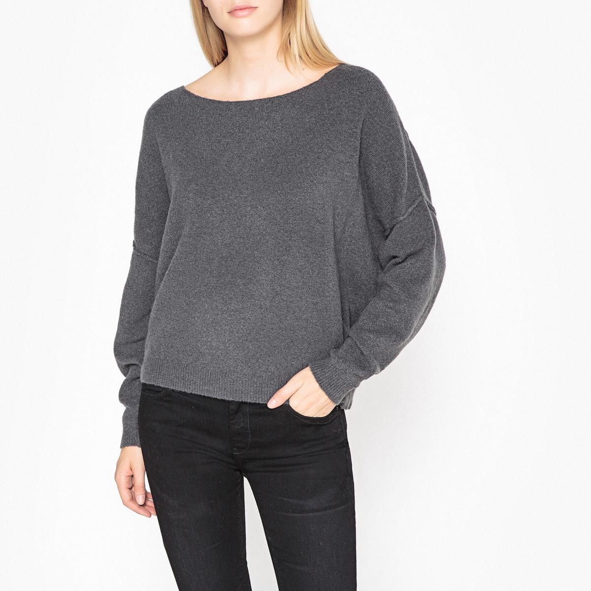 Пуловер La Redoute Из хлопка и кашемира с вырезом-лодочкой DAMSVILLE M/L серый