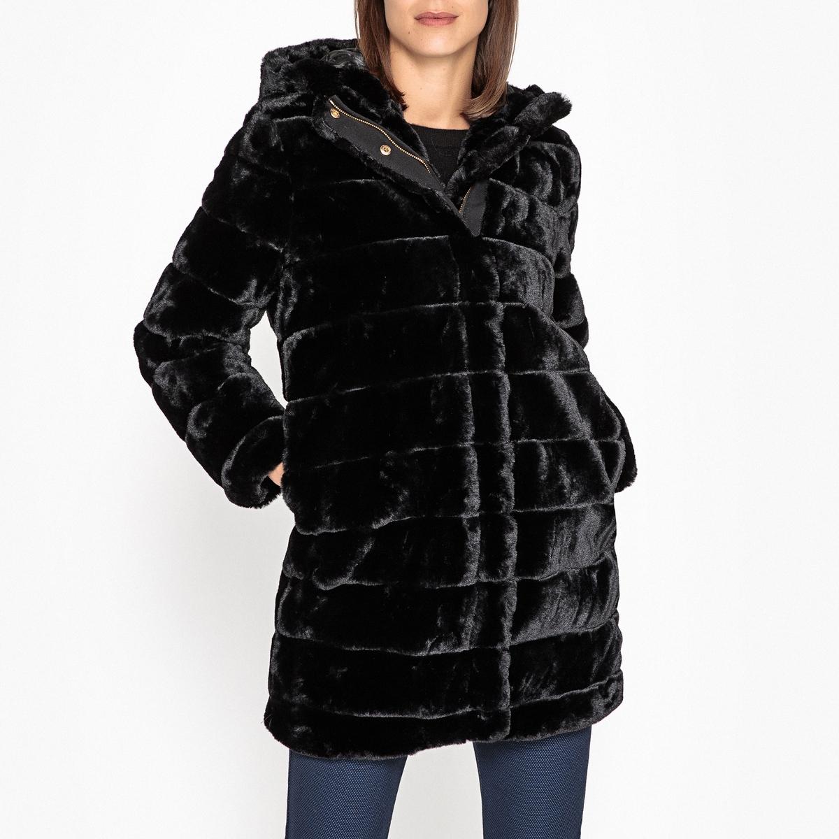 Пальто средней длины с капюшоном из искусственного меха цена