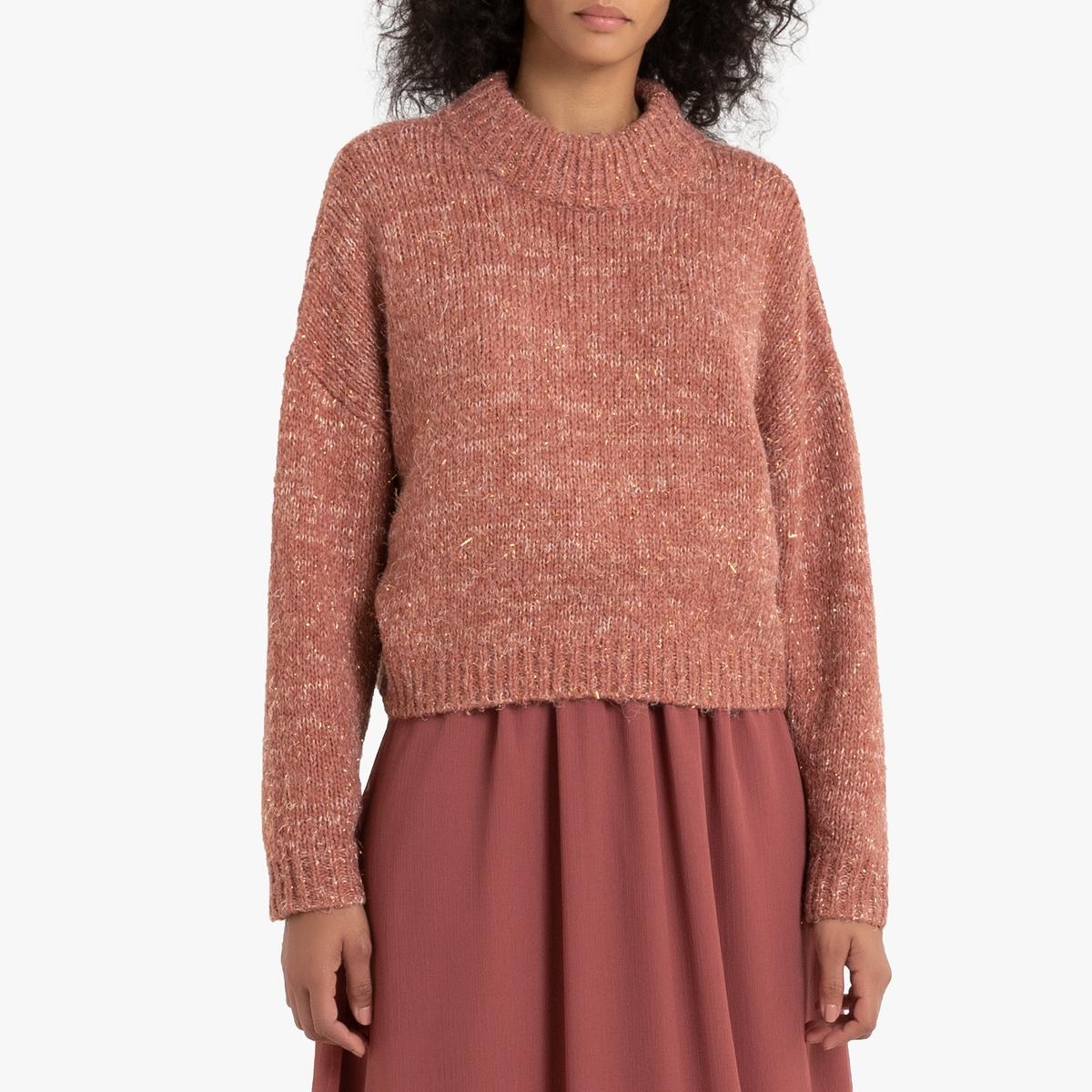 Пуловер La Redoute С воротником-стойкой с волокнами с металлическим блеском M/L оранжевый